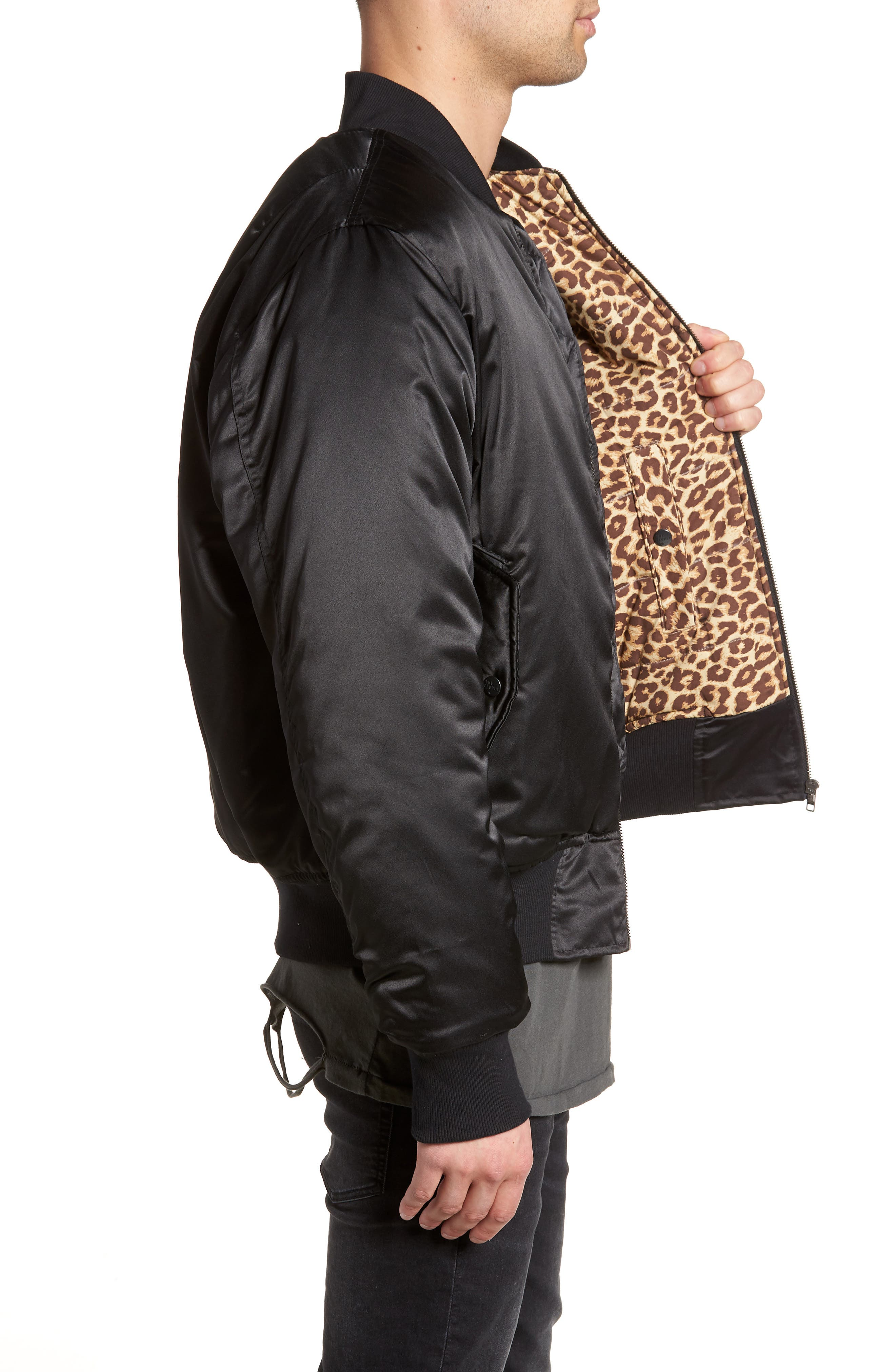 Maverick Reversible Bomber Jacket,                             Alternate thumbnail 4, color,                             BLACK/ JUNGLE CAT