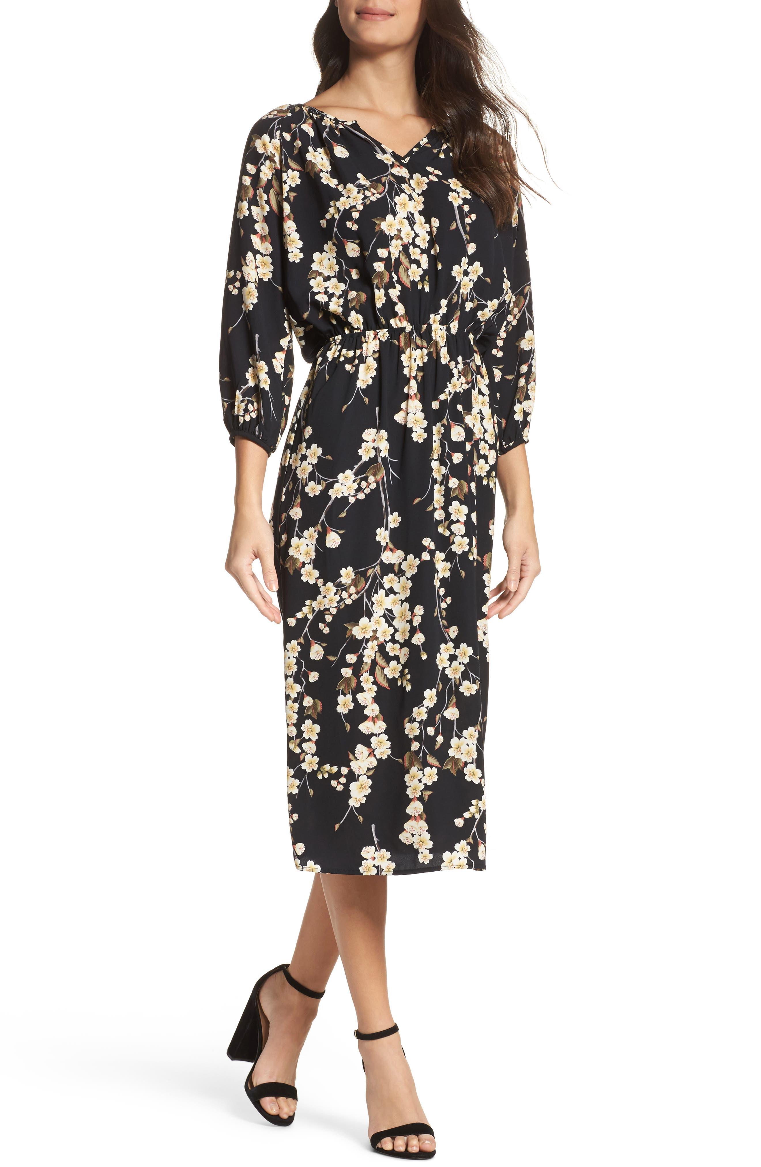Floral Blouson Dress,                             Main thumbnail 1, color,                             002