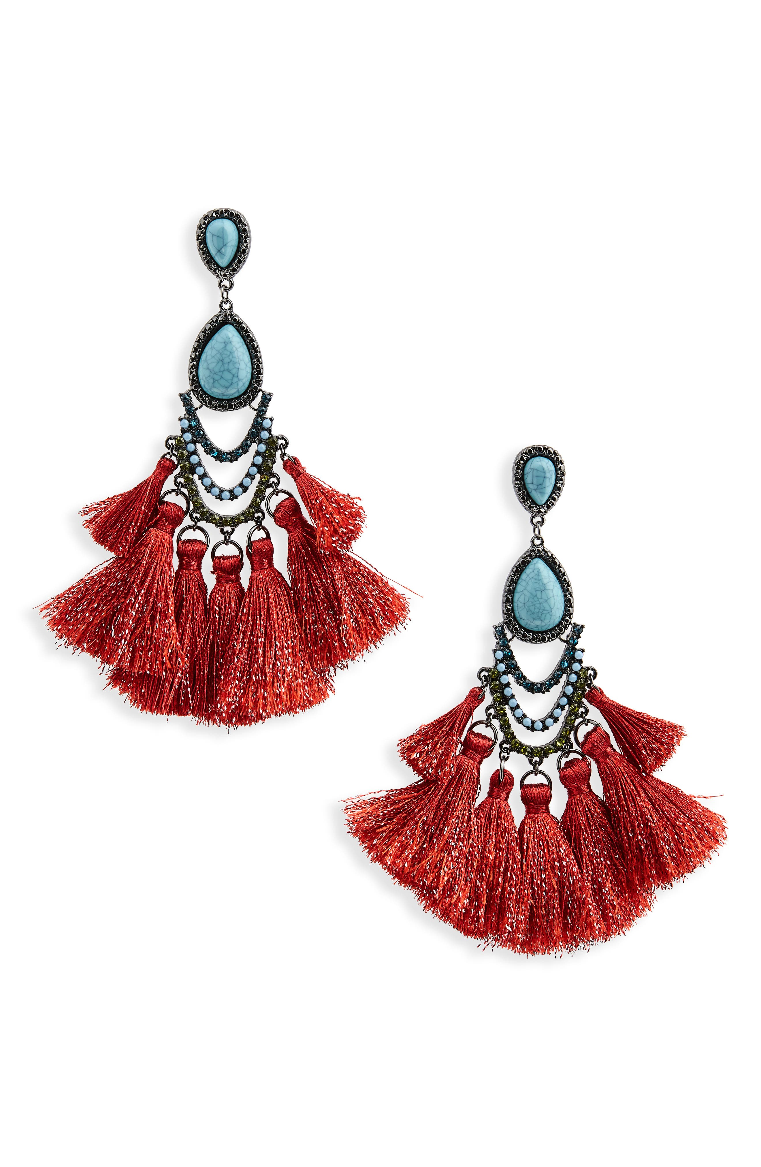 Tassel Drop Earrings,                             Main thumbnail 1, color,                             TEAL/ RED/ MULTI