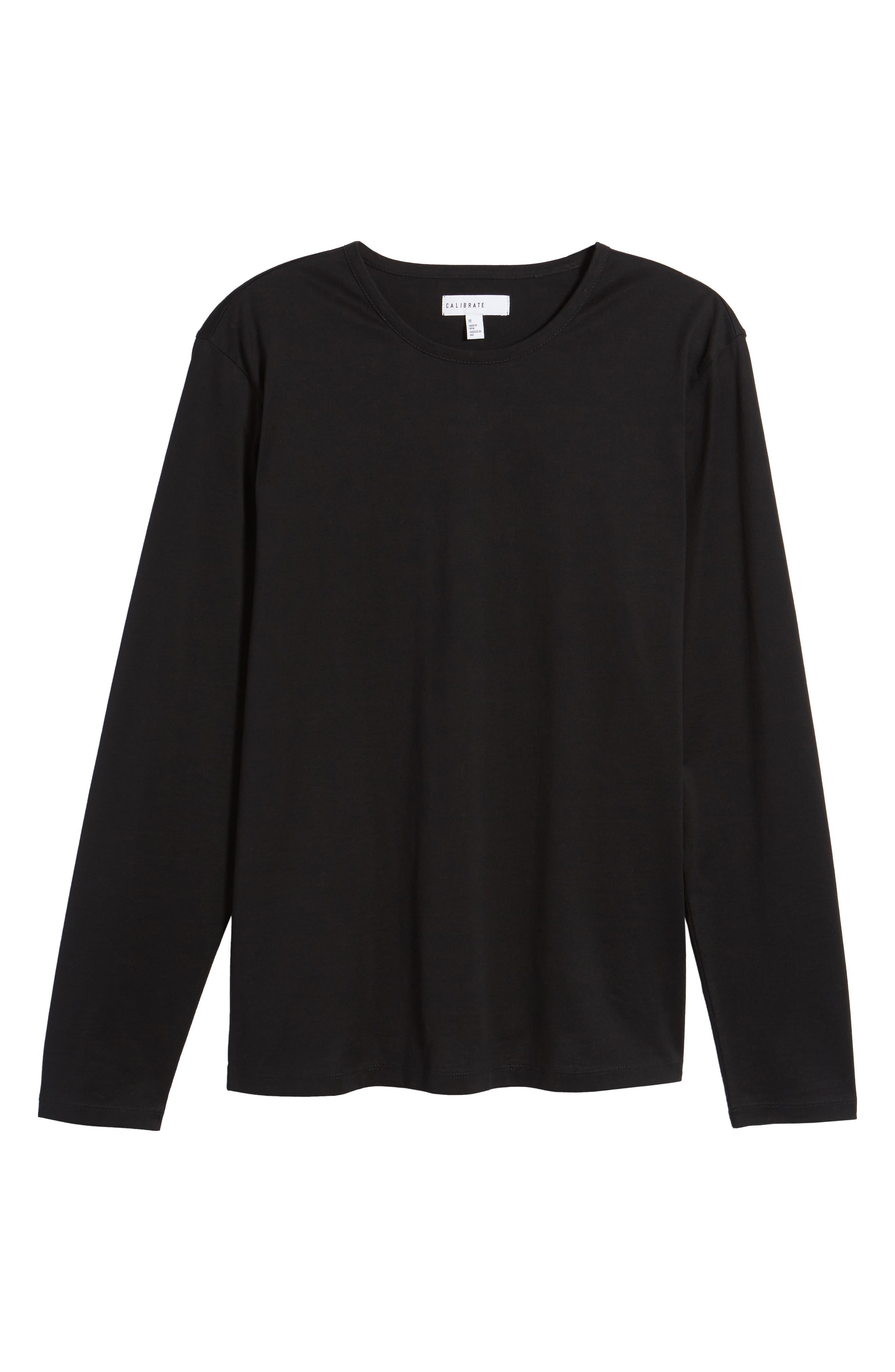 Mercerized Cotton Crewneck Long Sleeve T-Shirt,                             Alternate thumbnail 6, color,                             001