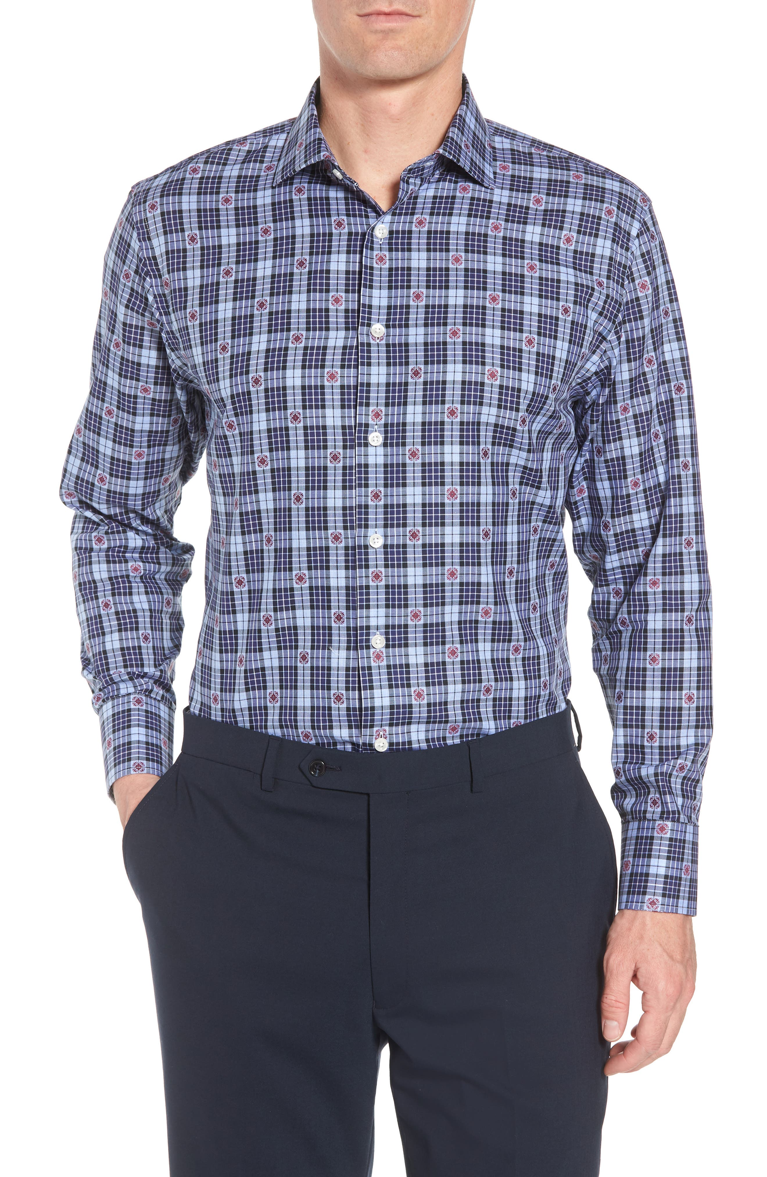 Traditional Fit Plaid Dress Shirt,                         Main,                         color, 410