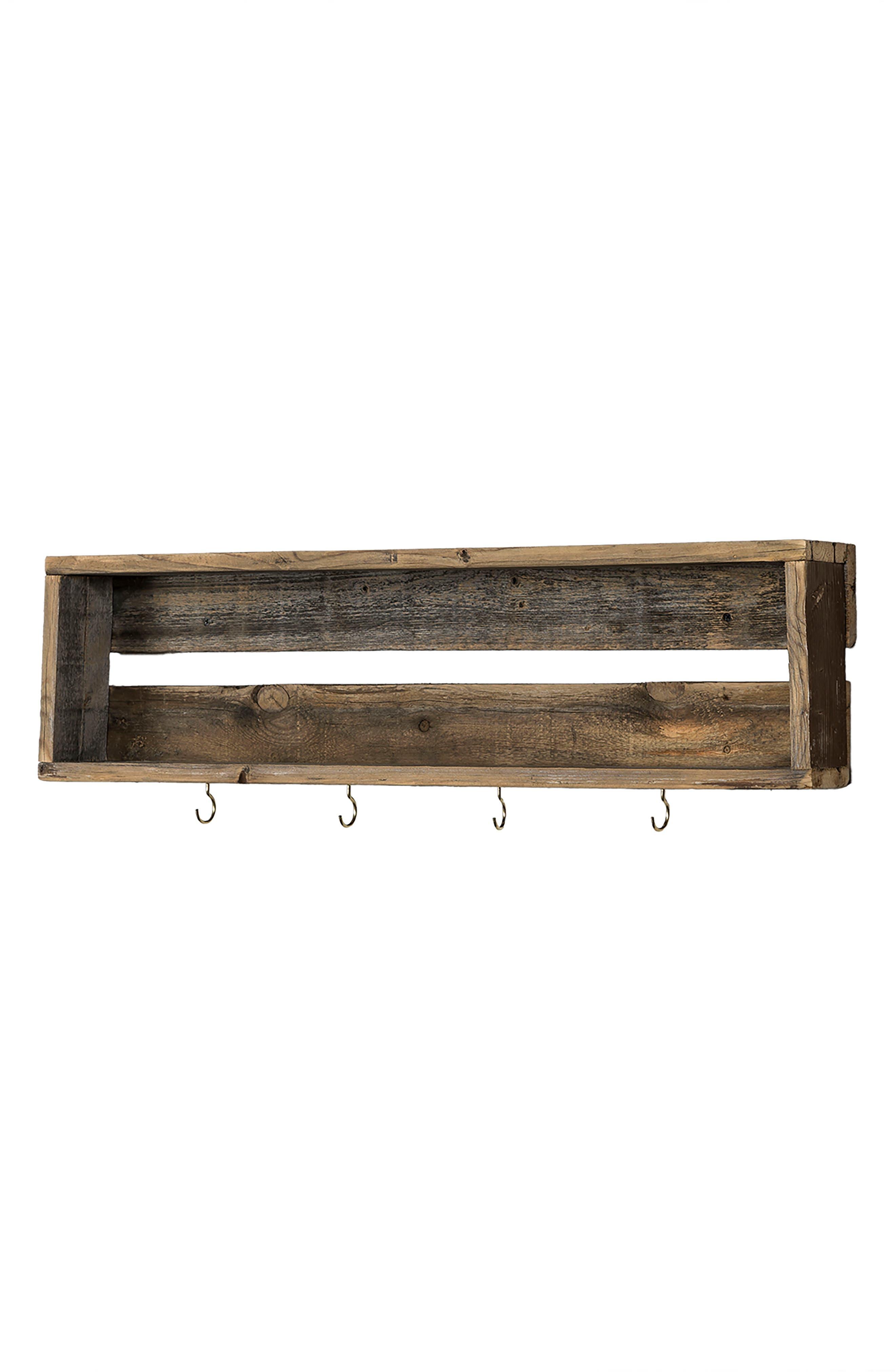 Repurposed Wood Shelf with Hooks,                             Alternate thumbnail 3, color,                             200
