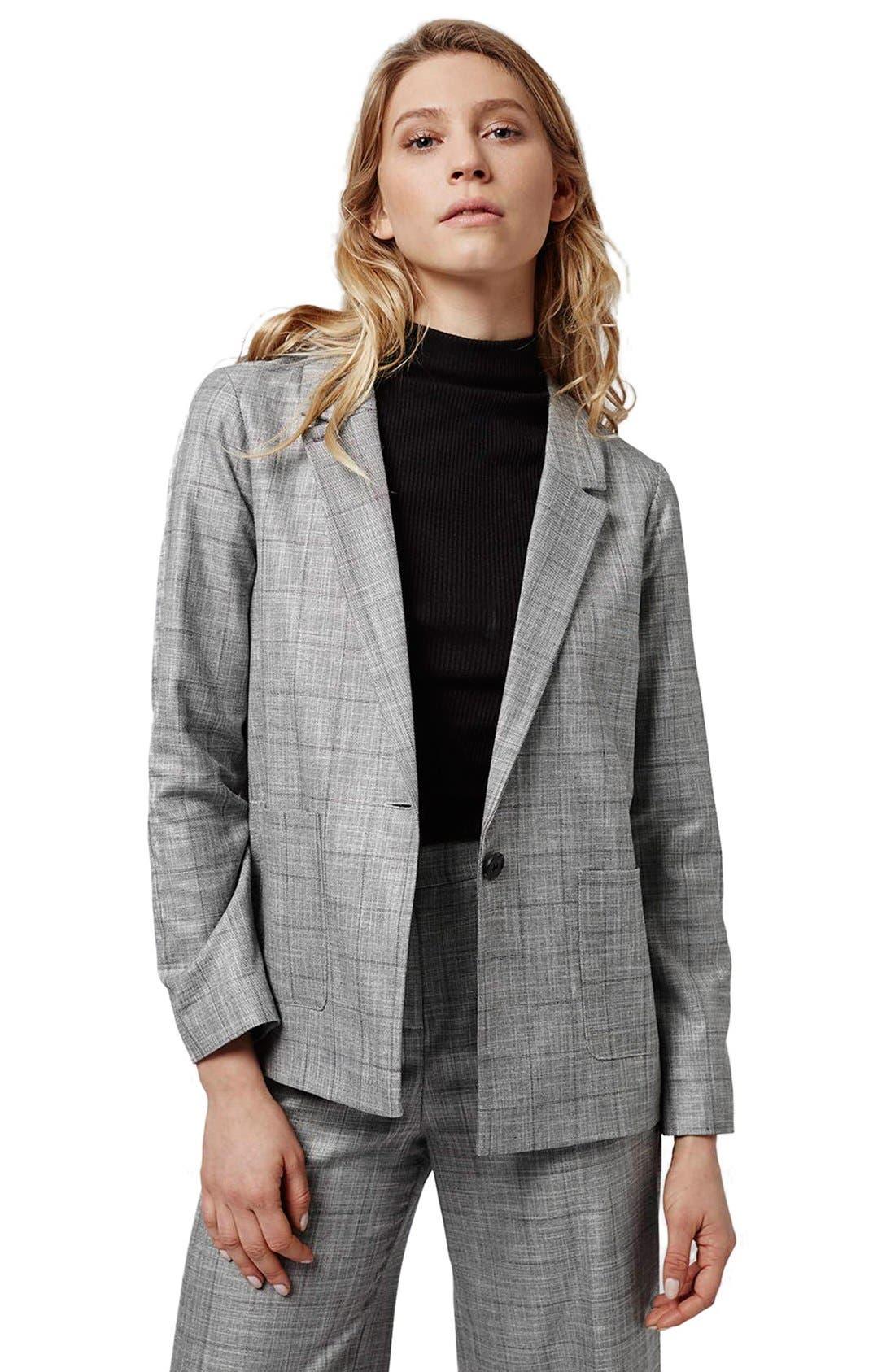 TOPSHOP,                             'Check Tonic' One-Button Suit Blazer,                             Alternate thumbnail 2, color,                             020