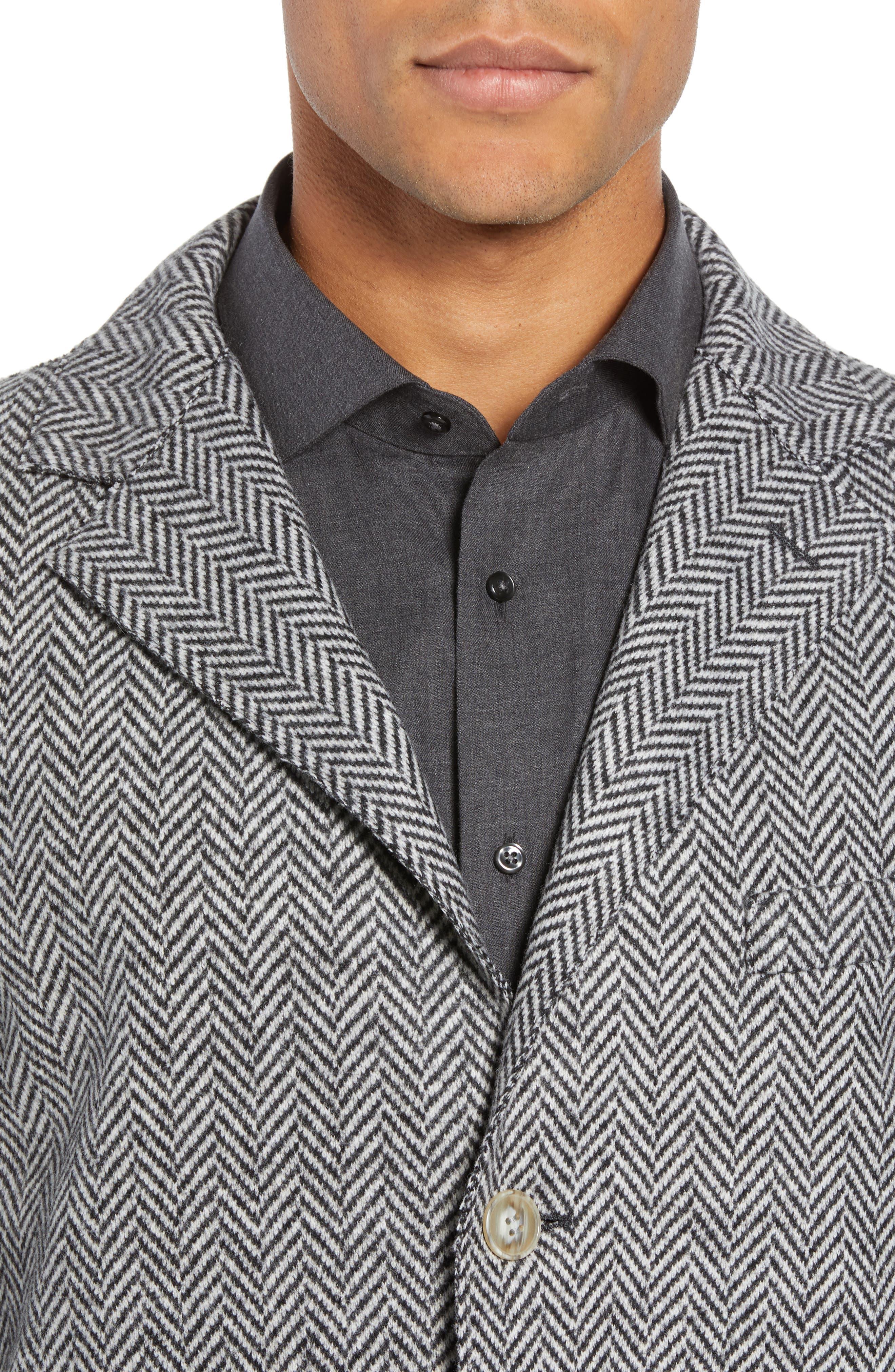 Trim Fit Wool Blend Top Coat,                             Alternate thumbnail 4, color,                             GREY