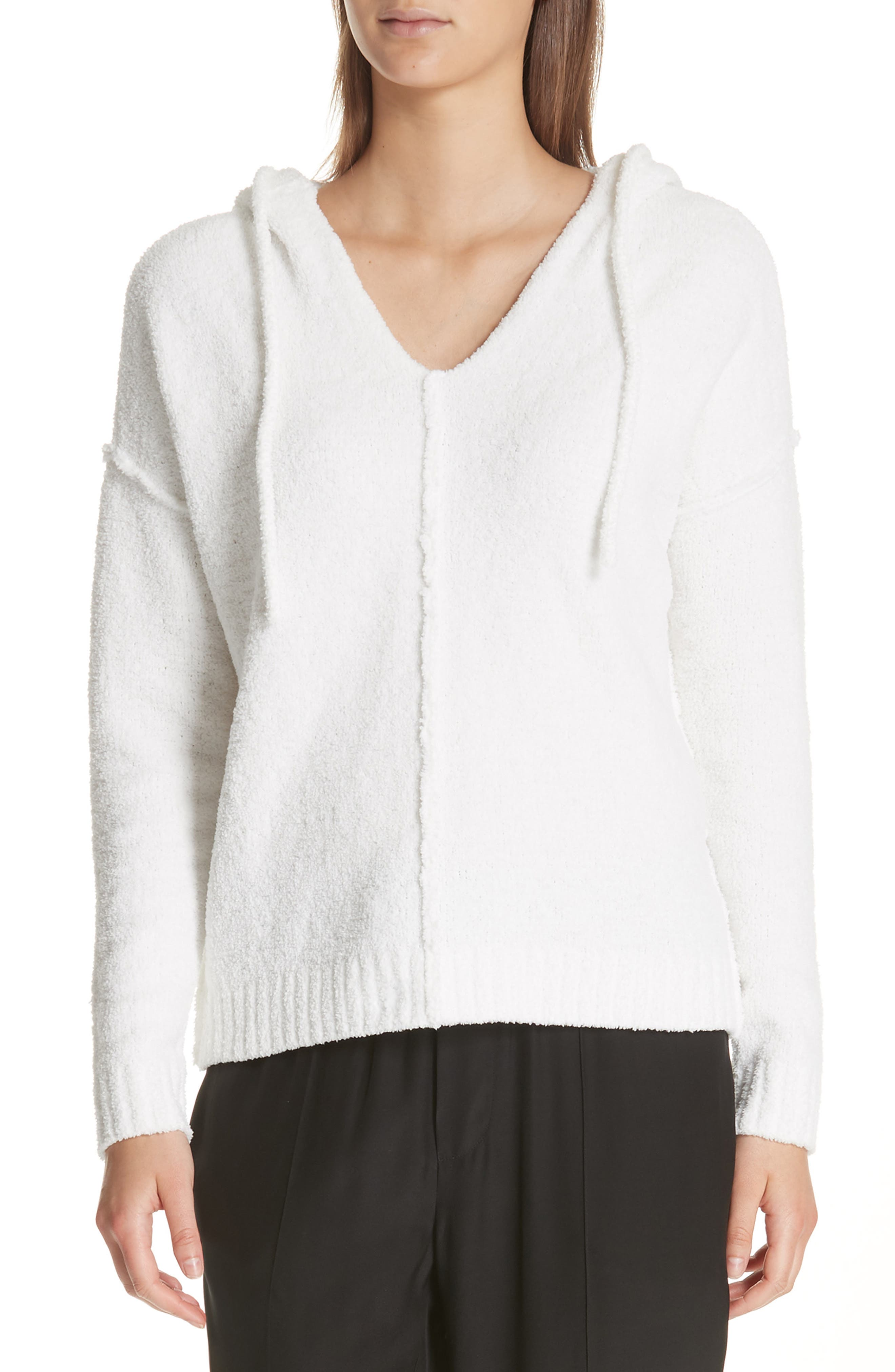 Boho Chenille Hoodie, Main, color, SNOW