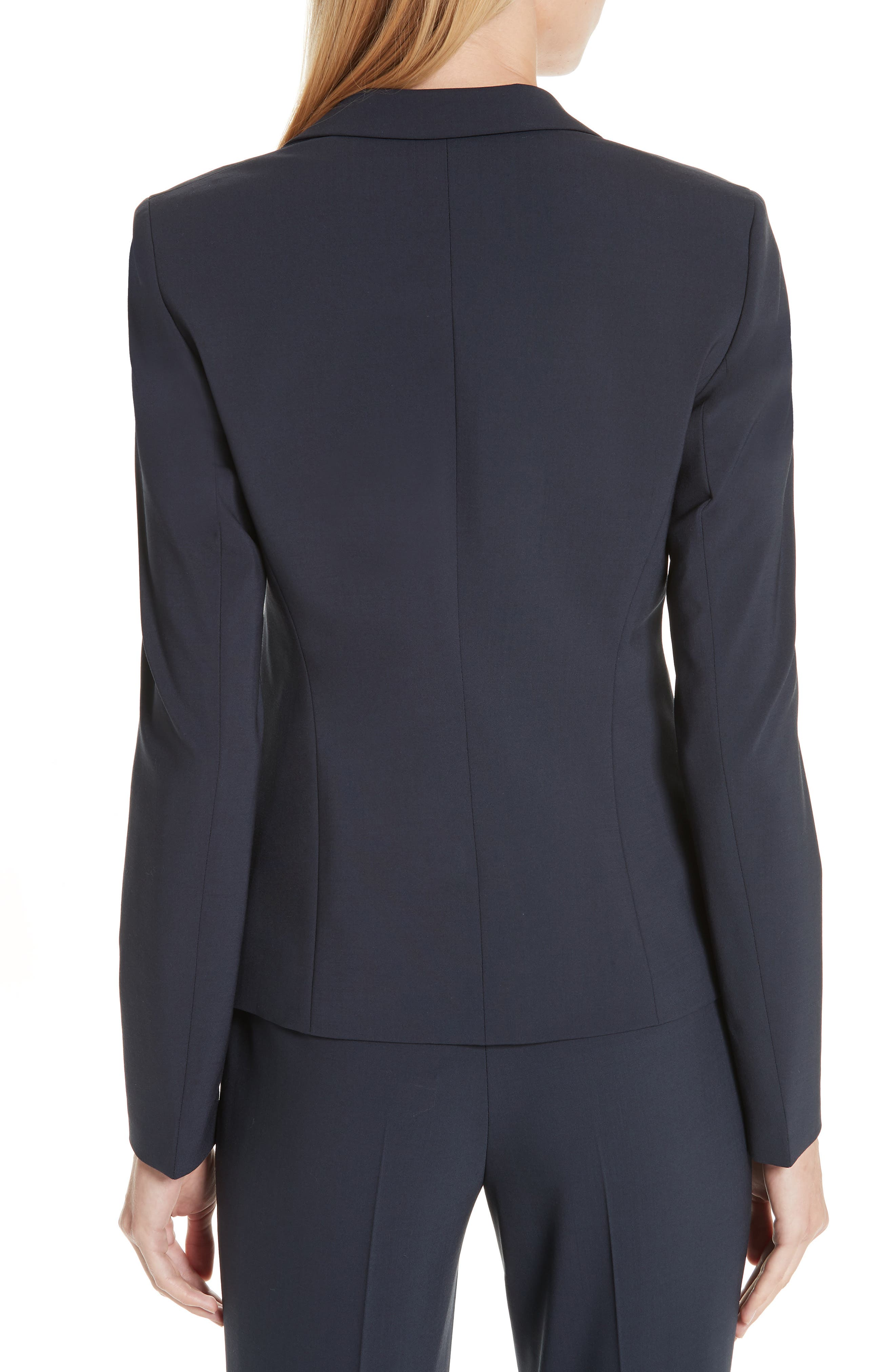 BOSS,                             Jiletara Stretch Wool Jacket,                             Alternate thumbnail 2, color,                             NAVY