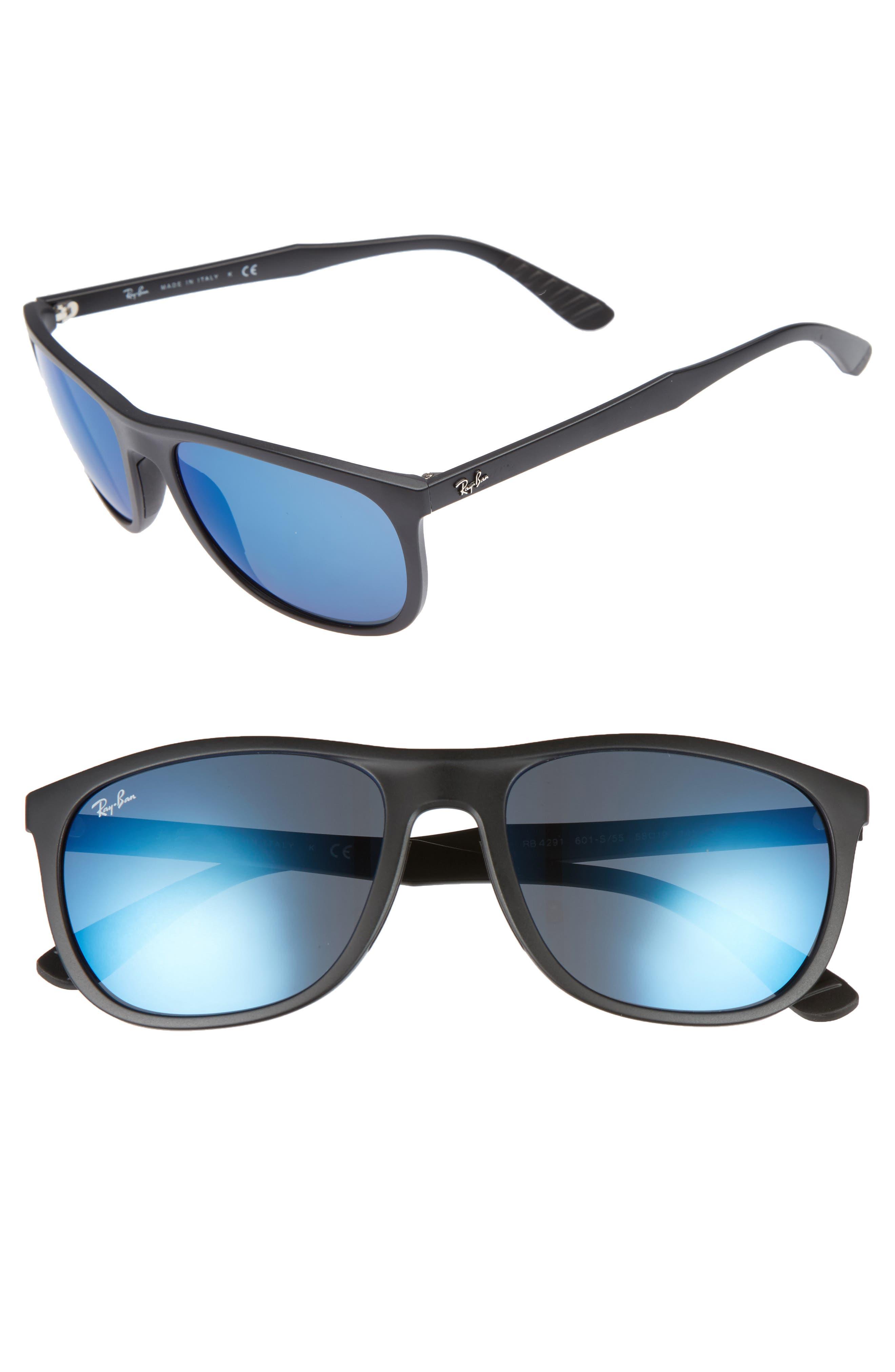 Active Lifestyle 58mm Sunglasses,                             Main thumbnail 1, color,                             BLACK/ BLUE