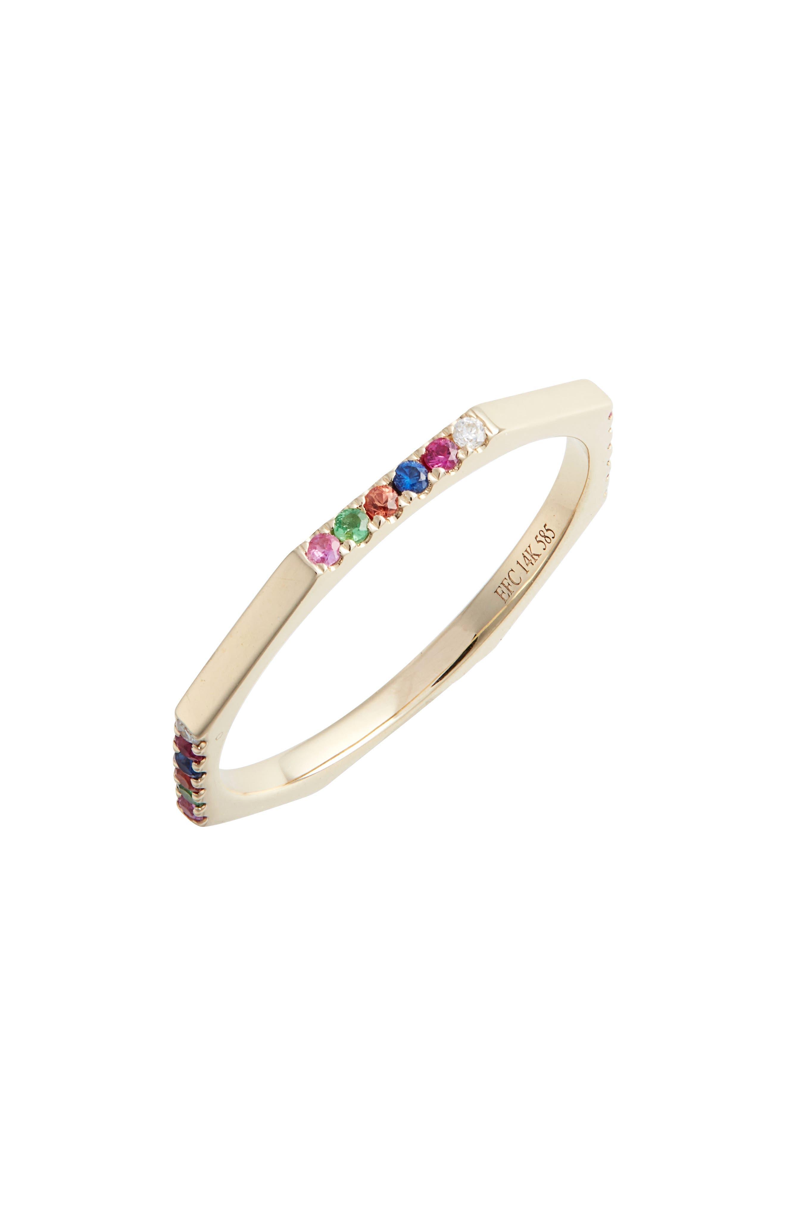 Half Rainbow Diamond Octagon Ring,                             Main thumbnail 1, color,                             YELLOW GOLD/ DIAMOND