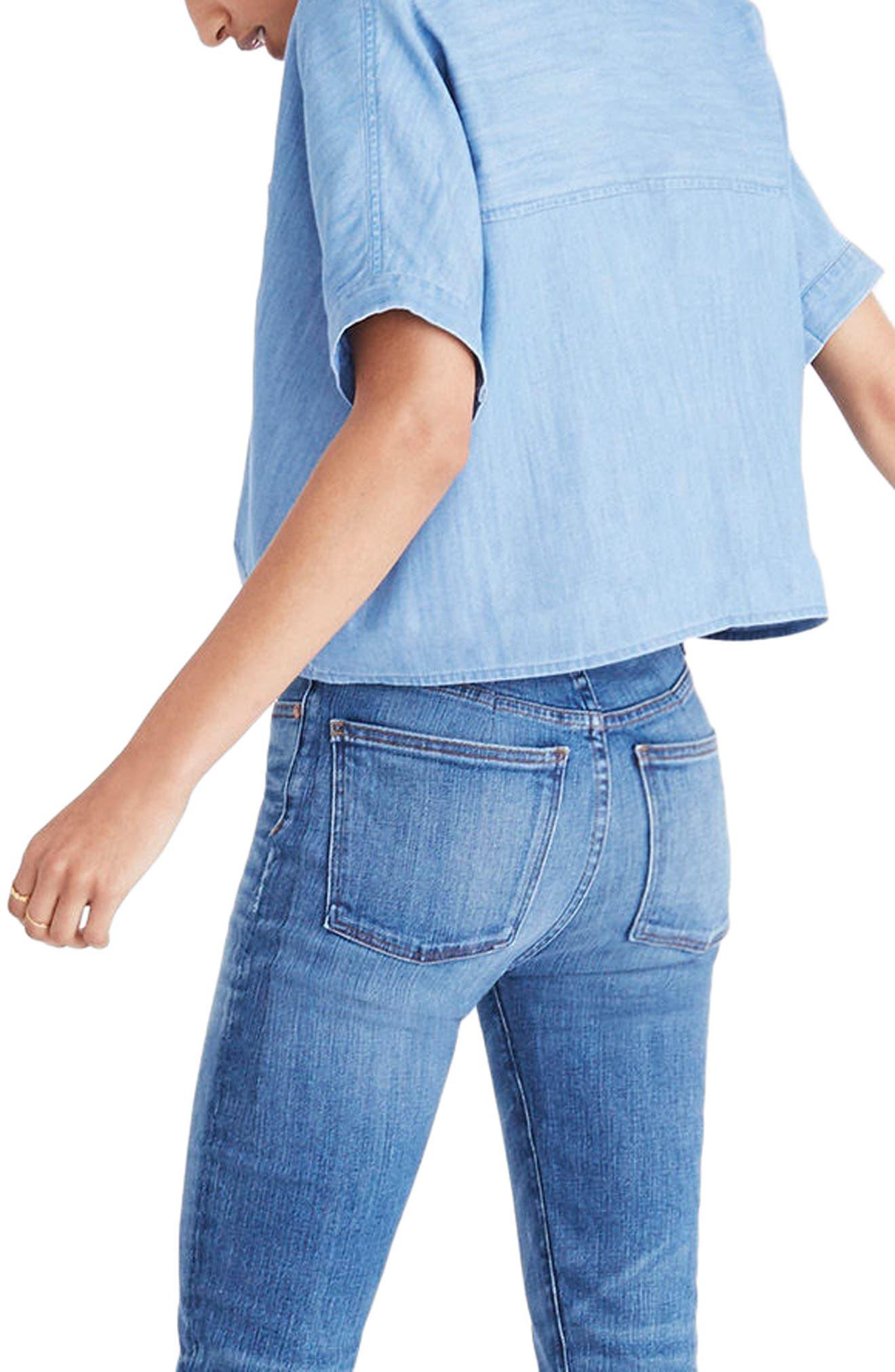 Tie Front Short Sleeve Denim Shirt,                             Alternate thumbnail 2, color,                             400