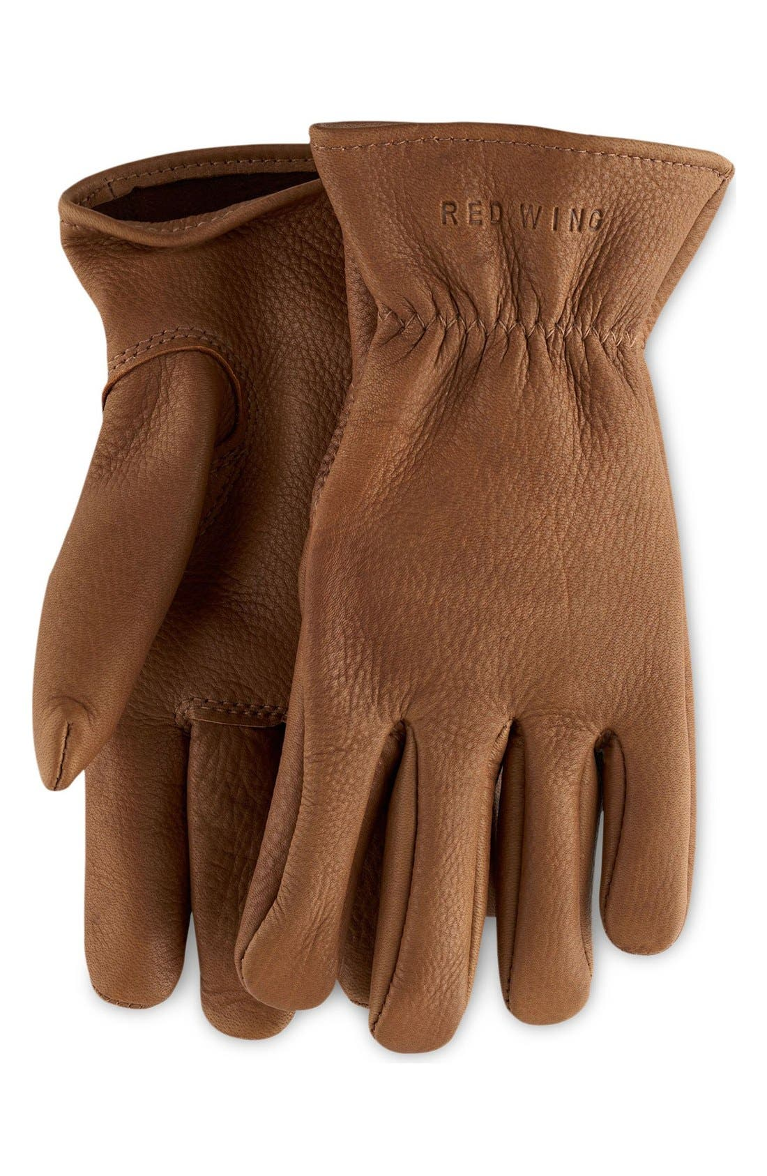 Buckskin Leather Gloves,                             Main thumbnail 1, color,                             NUTMEG