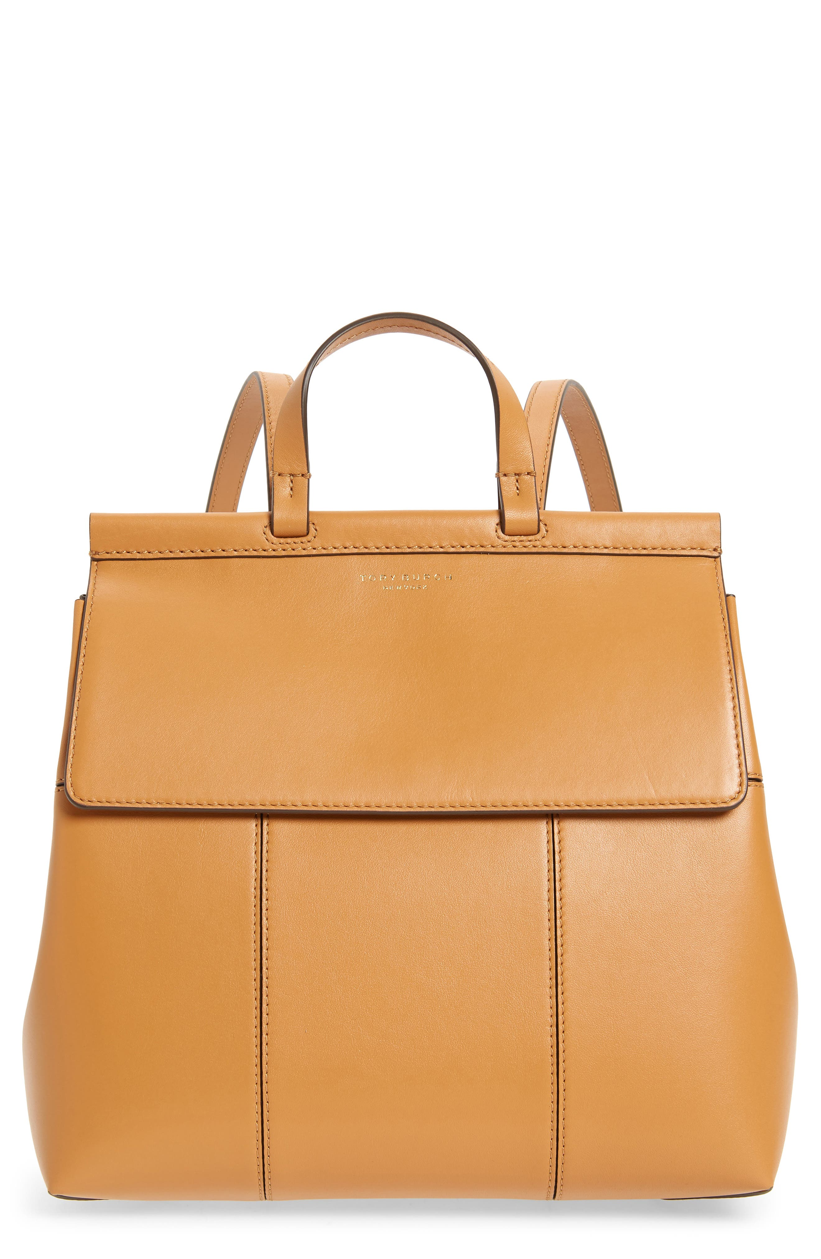 Block T Leather Backpack,                         Main,                         color, BRITISH TAN / BRITISH TAN