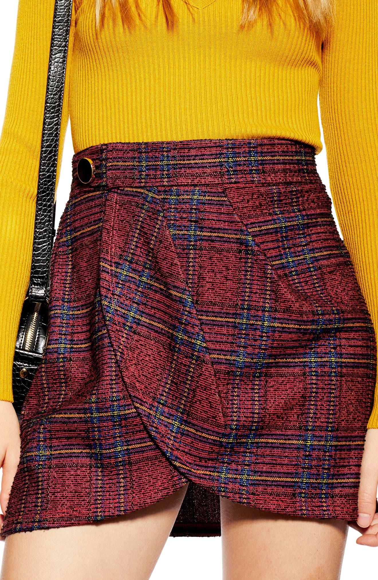 TOPSHOP,                             Tartan Bouclé Miniskirt,                             Alternate thumbnail 3, color,                             RED MULTI