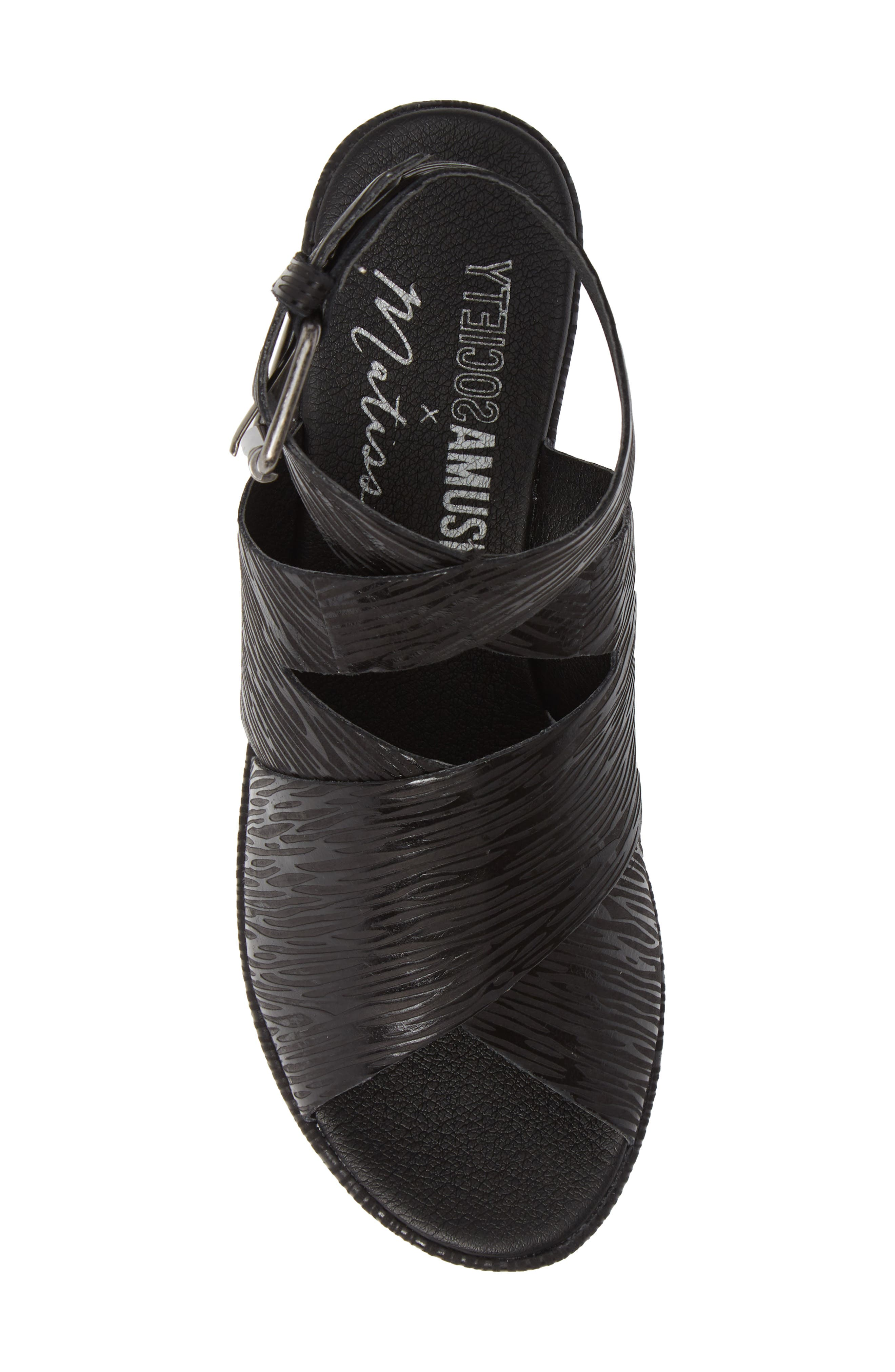 Runaway Wedge Sandal,                             Alternate thumbnail 5, color,                             BLACK LIZARD PRINT LEATHER