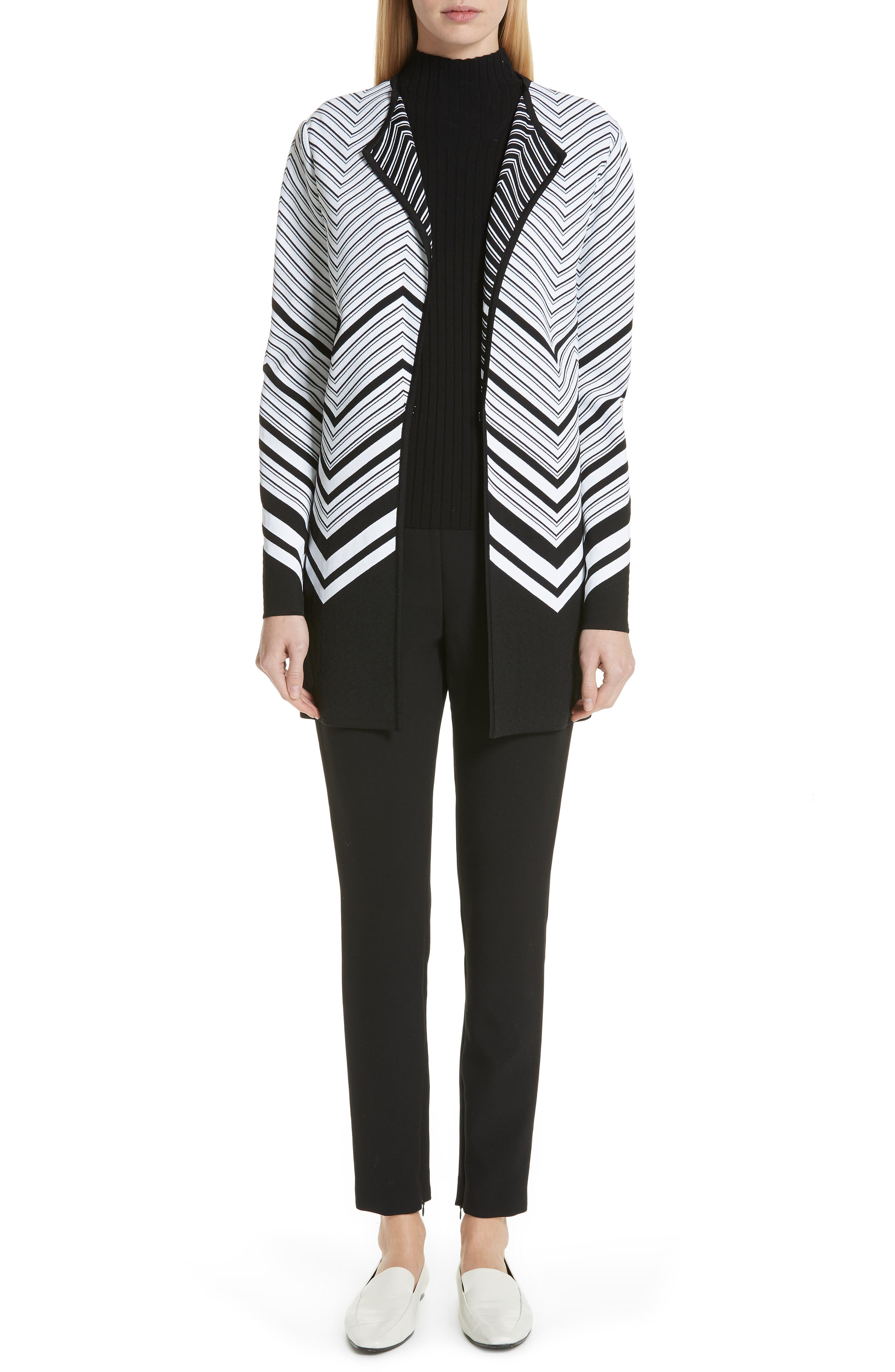 Chevron Jacquard Sweater Jacket,                             Alternate thumbnail 8, color,                             CAVIAR/ WHITE