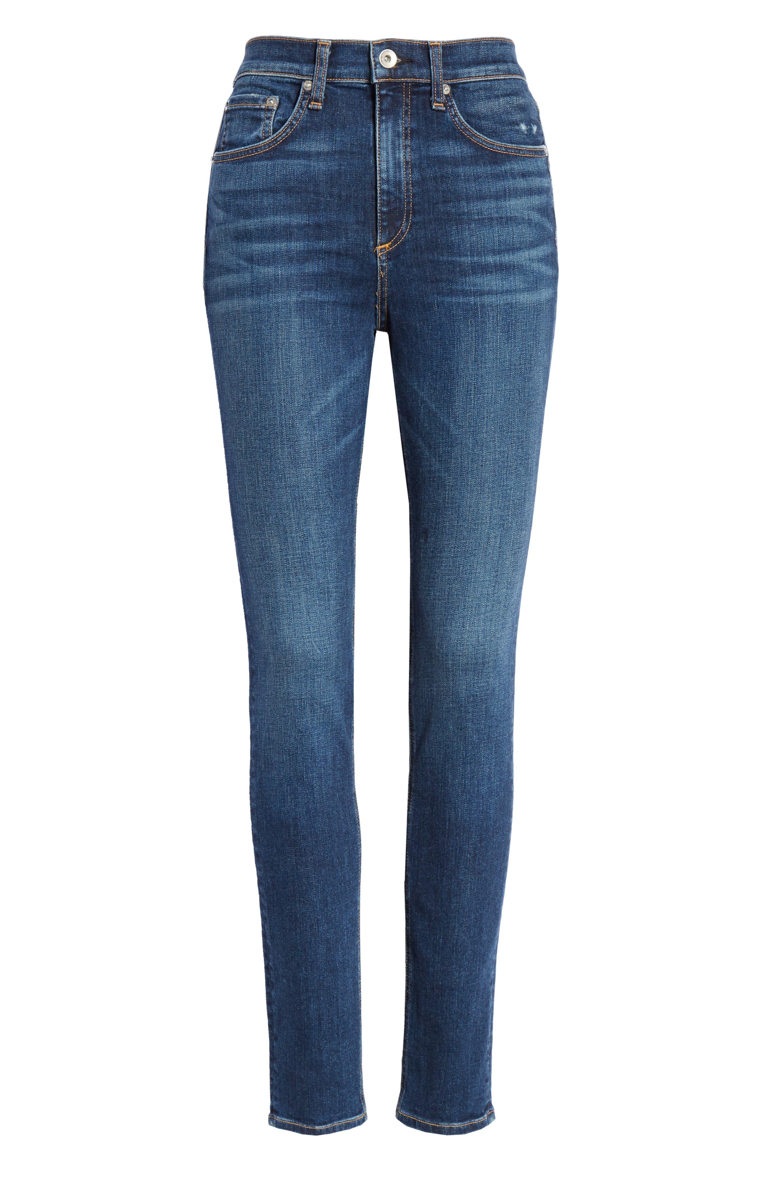 Ripped High Waist Skinny Jeans,                             Alternate thumbnail 7, color,                             ELTON
