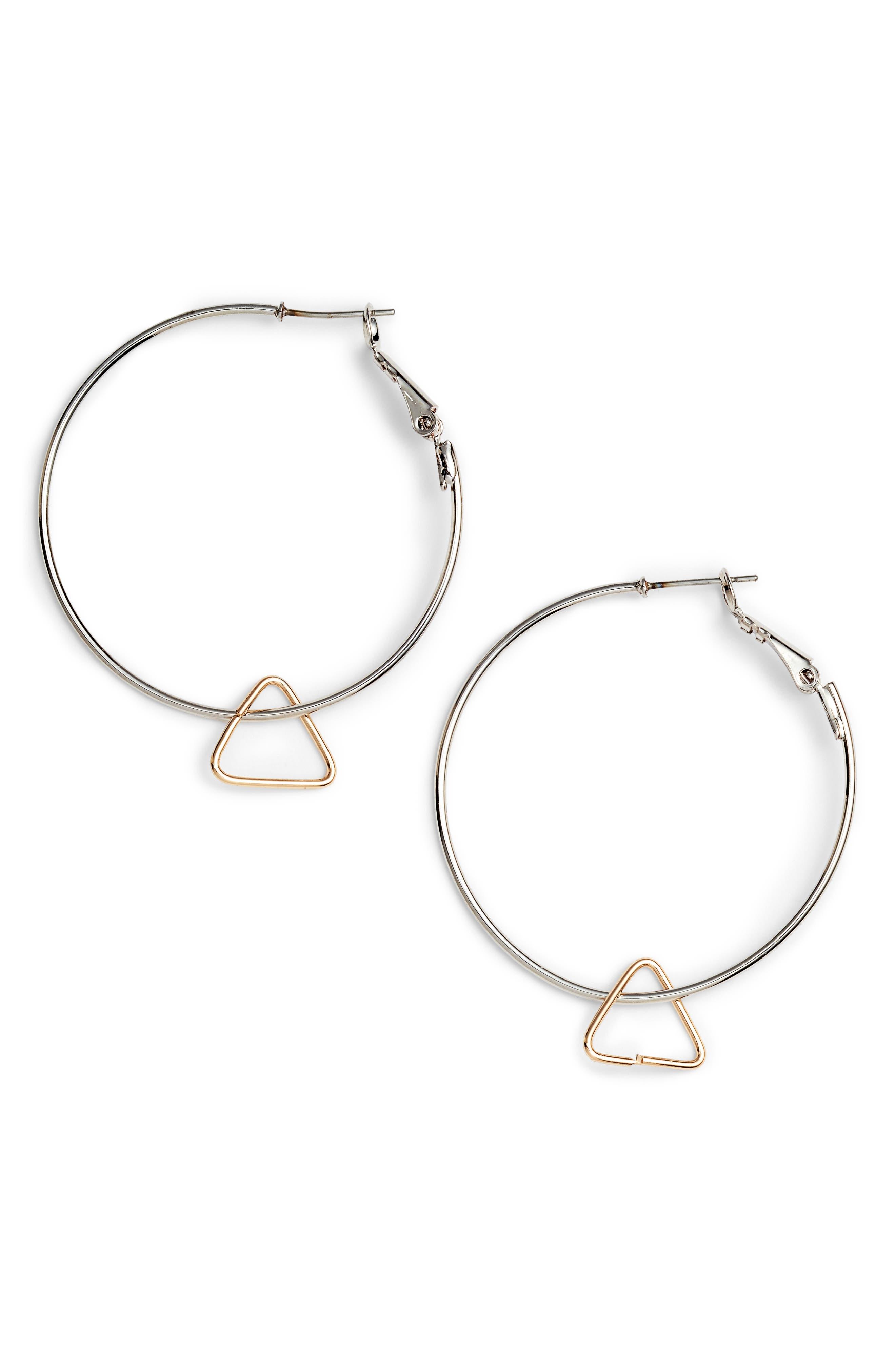 Triangle Charm Hoop Earrings,                             Main thumbnail 1, color,