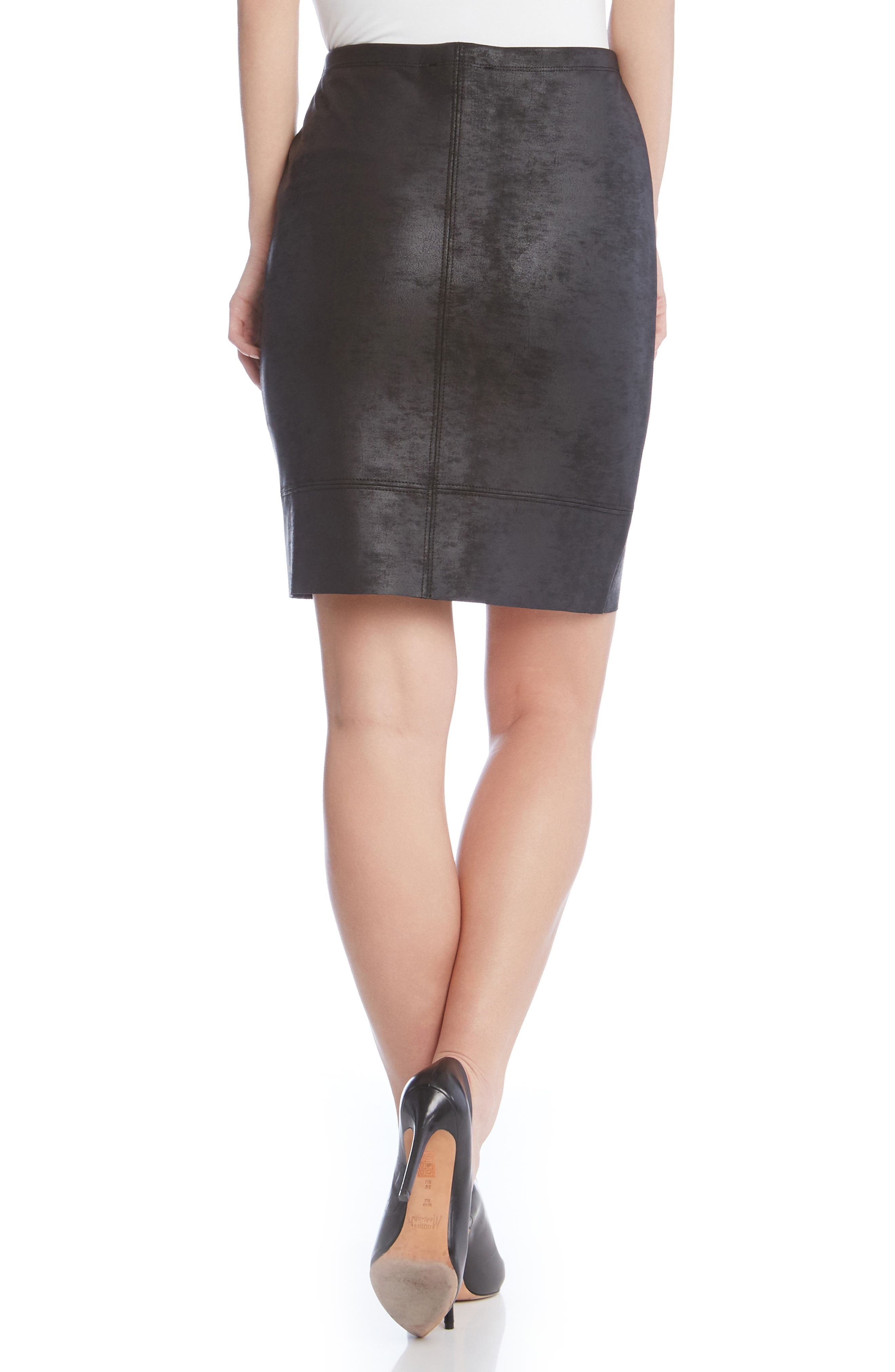 Stretch Faux Leather Skirt,                             Alternate thumbnail 2, color,                             001