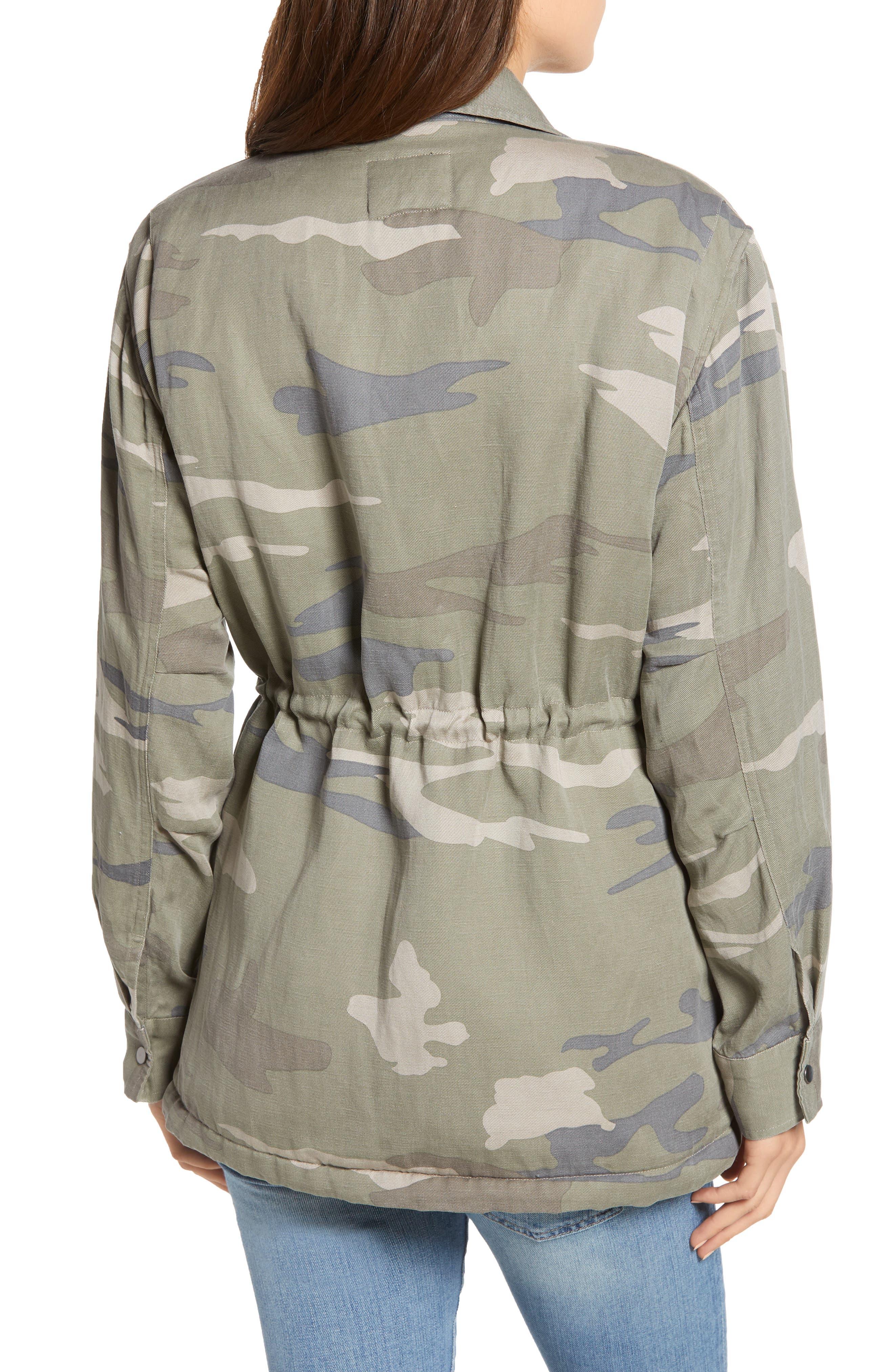 Whitaker Camo Utility Linen Blend Jacket,                             Alternate thumbnail 3, color,                             SAGE CAMO