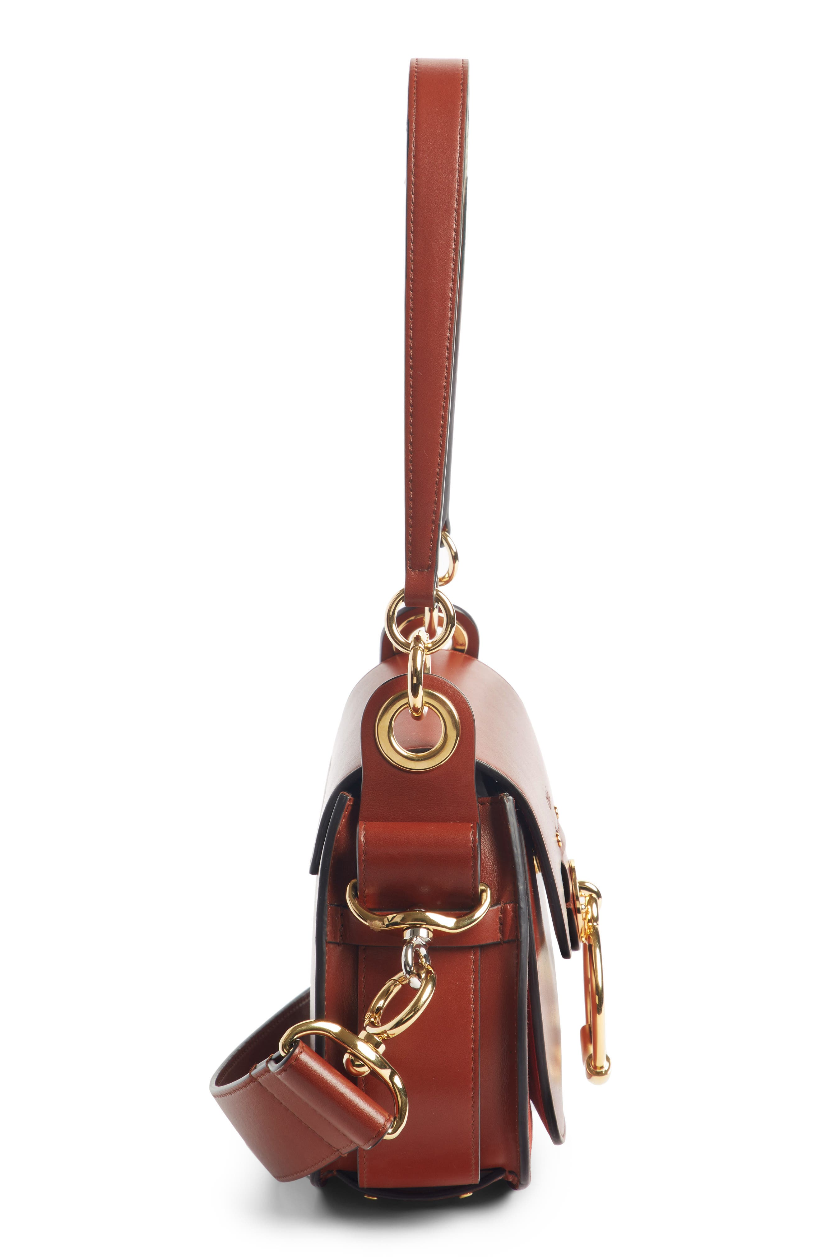Small Tess Calfskin Leather Shoulder Bag,                             Alternate thumbnail 4, color,                             SEPIA BROWN