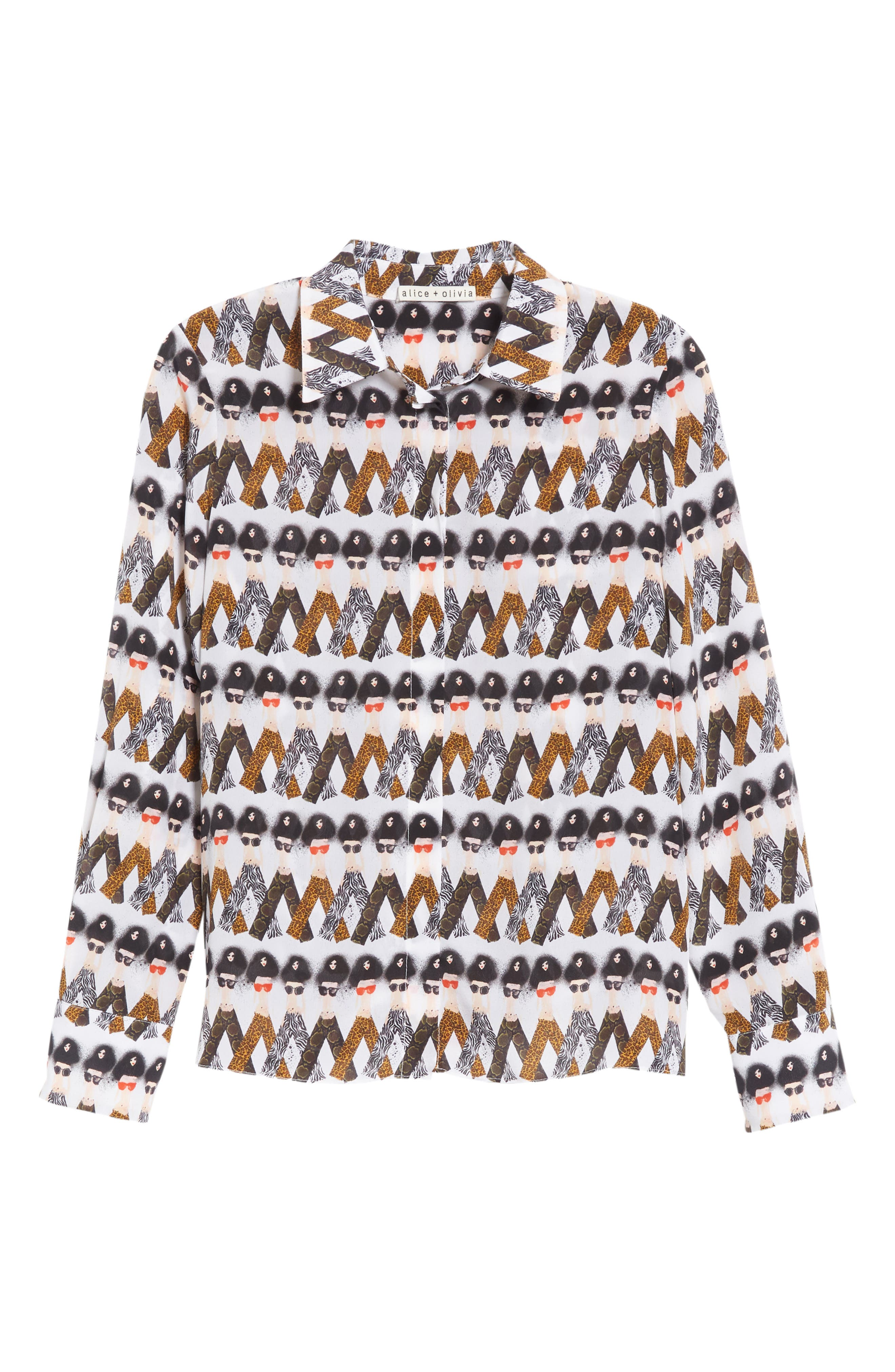 Willa Crazy Pants Silk Shirt,                             Alternate thumbnail 6, color,                             903