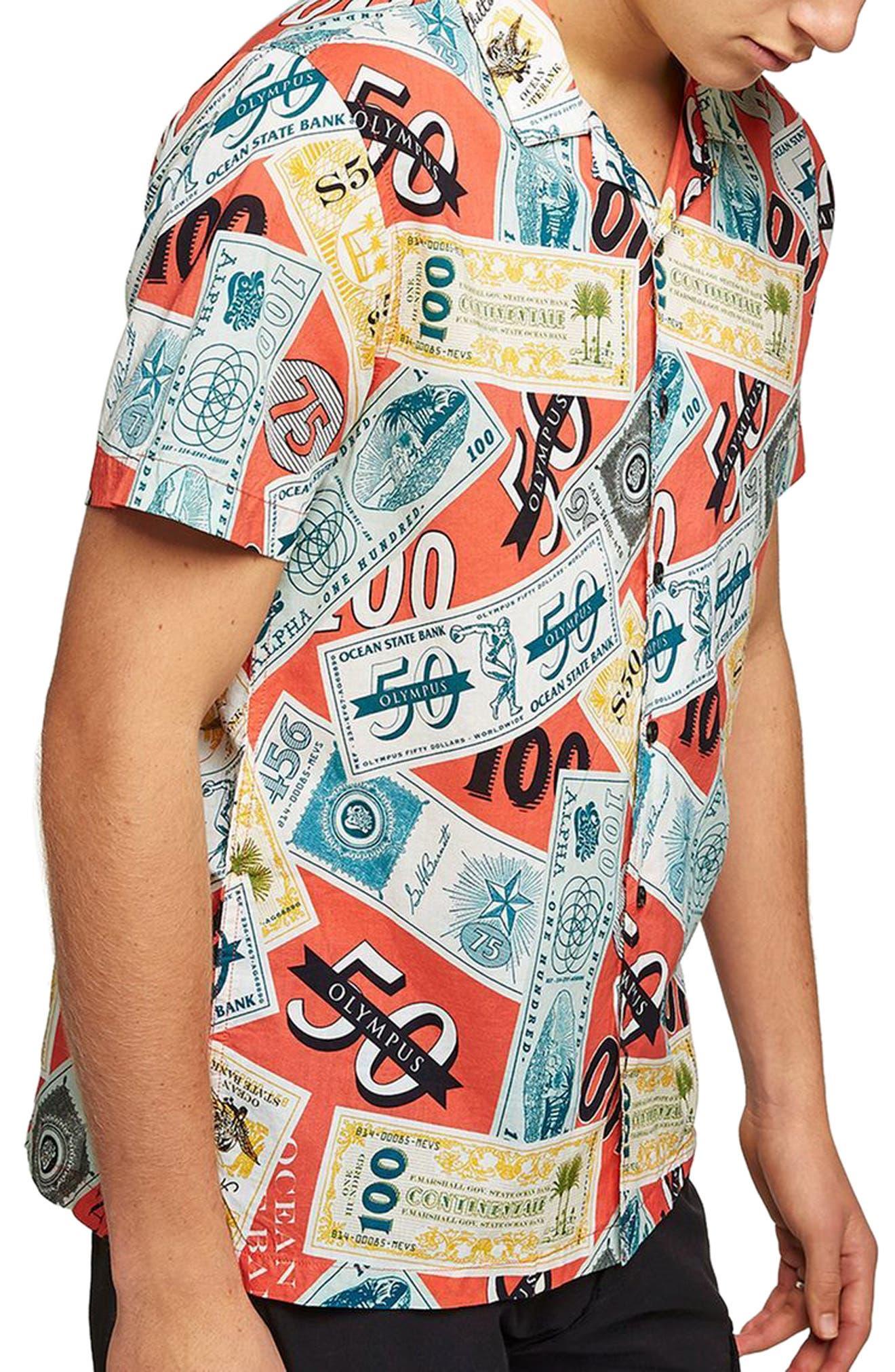 Classic Fit Money Print Woven Shirt,                             Main thumbnail 1, color,                             600