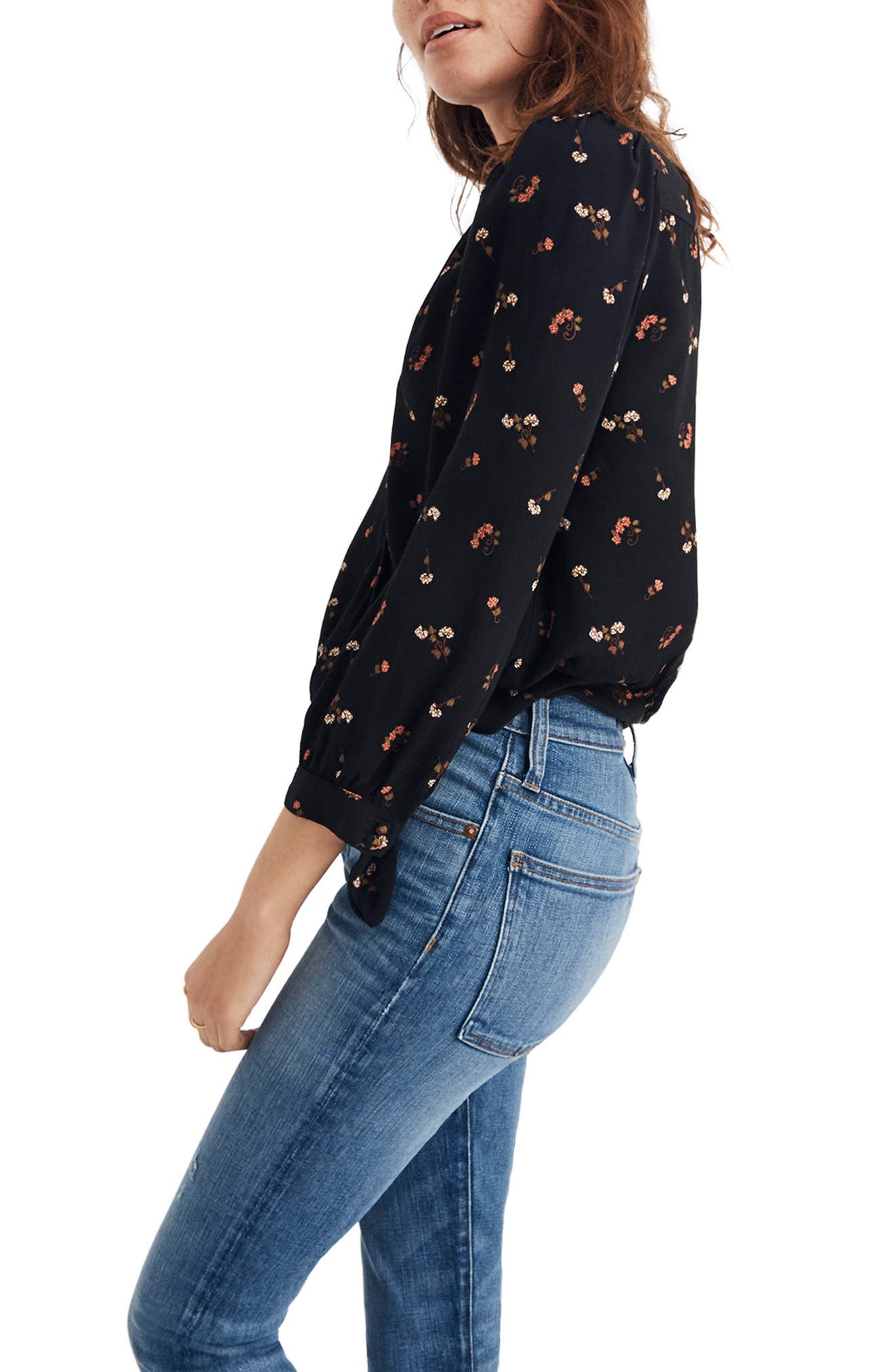 Flower Toss Wrap Top,                             Alternate thumbnail 3, color,                             009