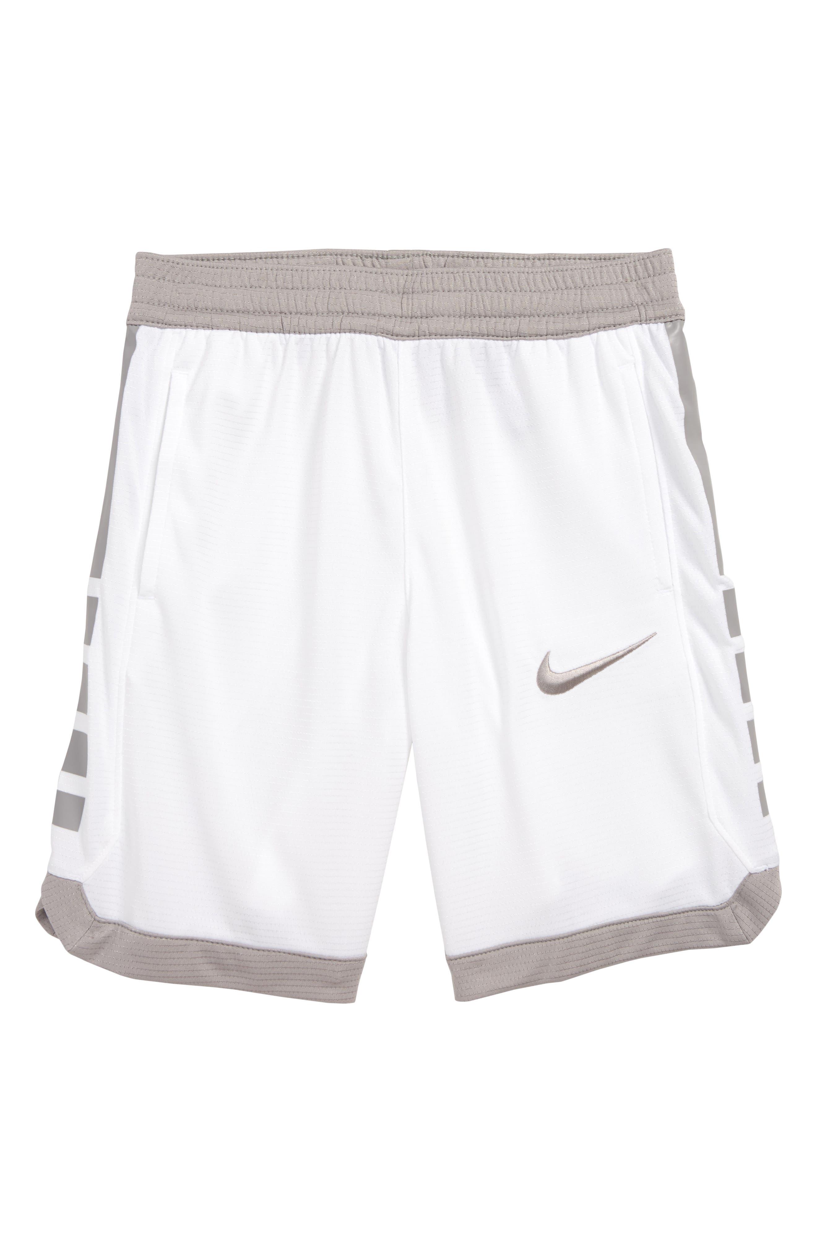 Boys Nike Dry Elite Stripe Athletic Shorts Size 7  White
