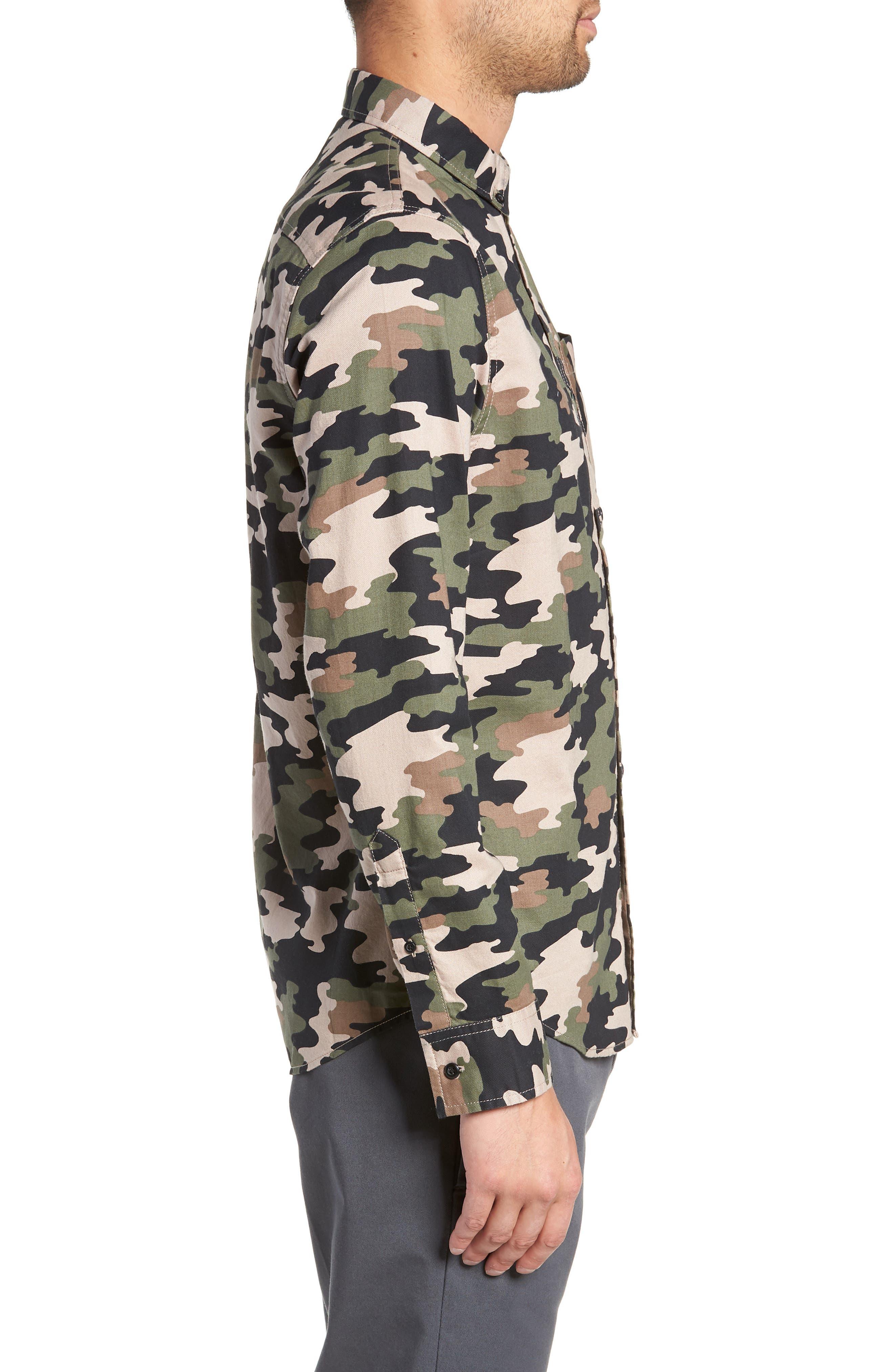 Camo Flannel Shirt,                             Alternate thumbnail 3, color,                             GREEN BLACK CAMO