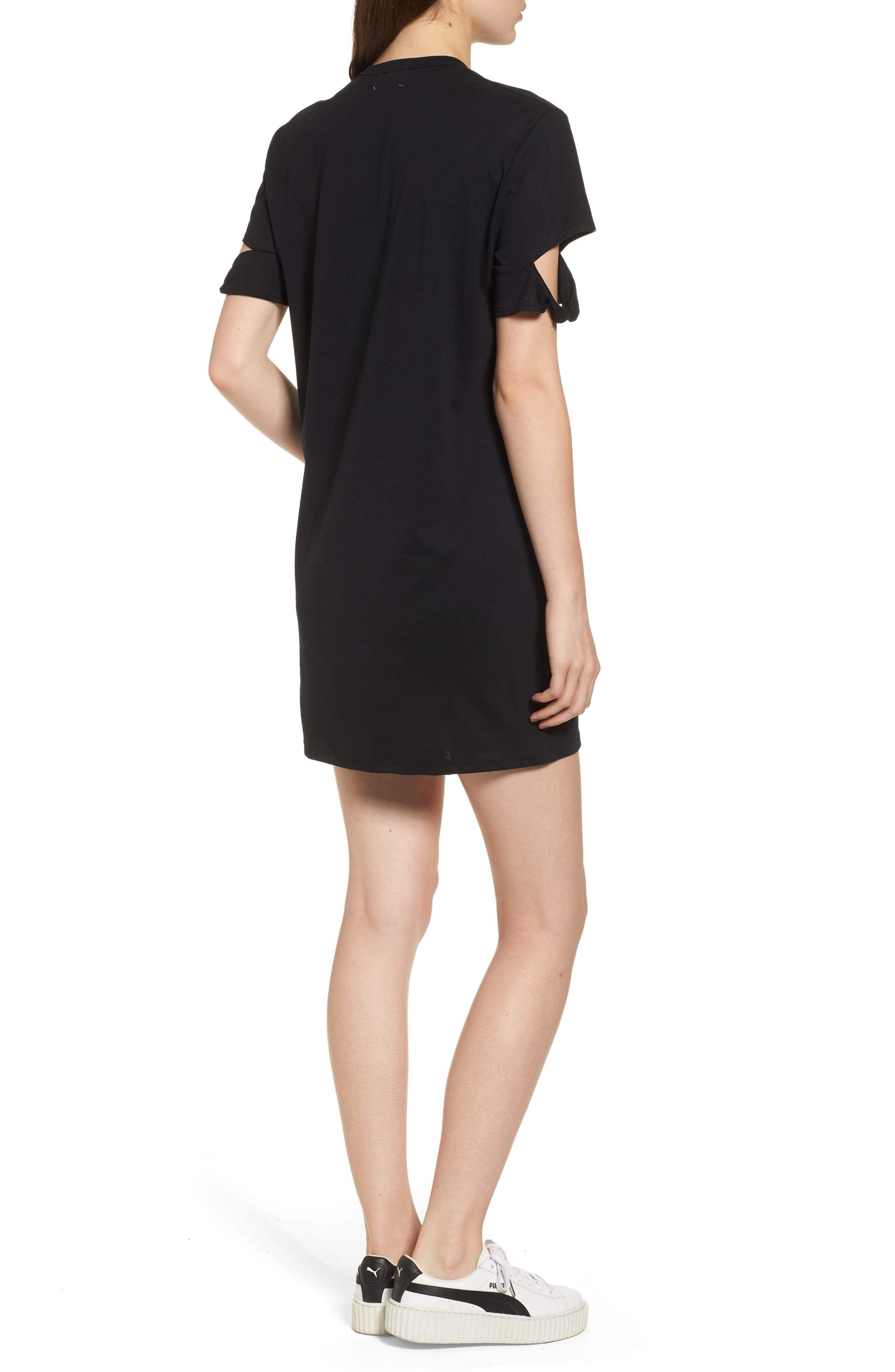 Knotted Sleeve T-Shirt Dress,                             Alternate thumbnail 2, color,                             001