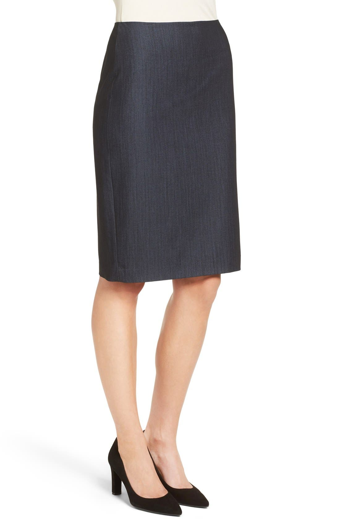 Stretch Woven Suit Skirt,                             Alternate thumbnail 5, color,                             INDIGO TWILL