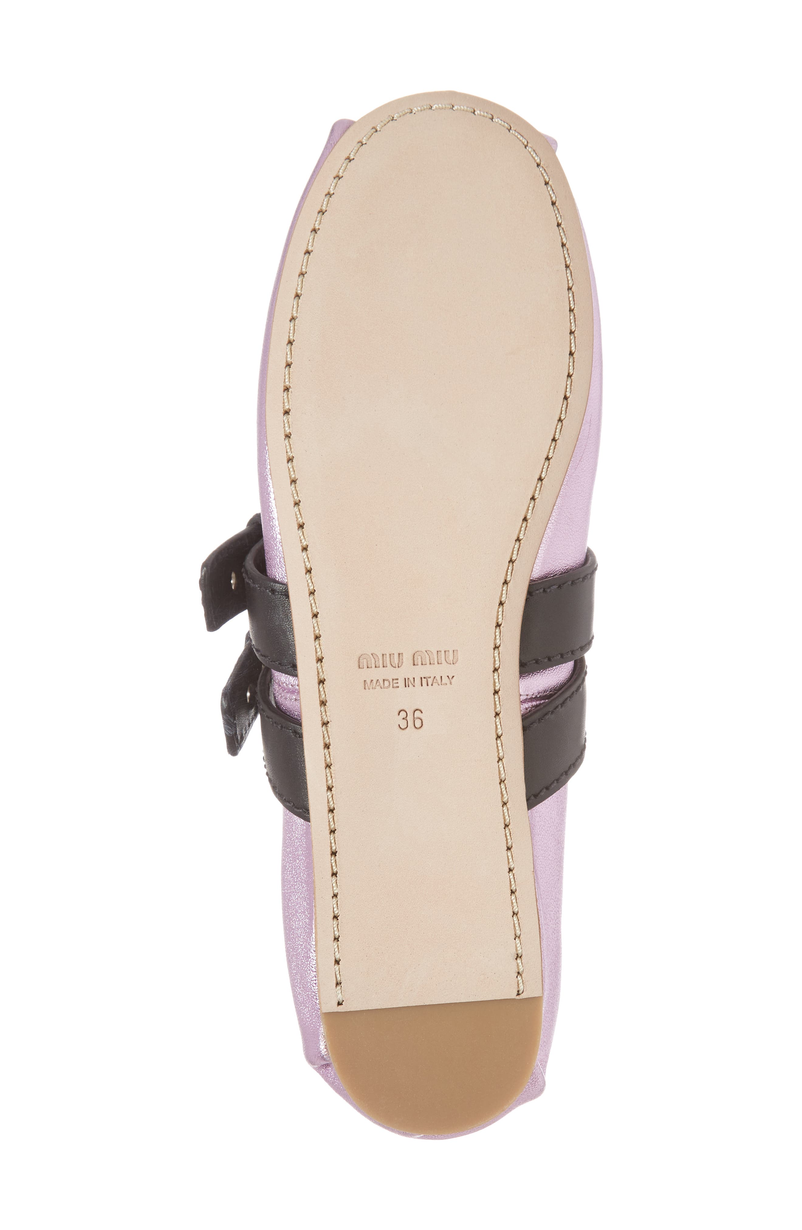 MIU MIU,                             Lace-Up Ballerina Flat,                             Alternate thumbnail 6, color,                             650