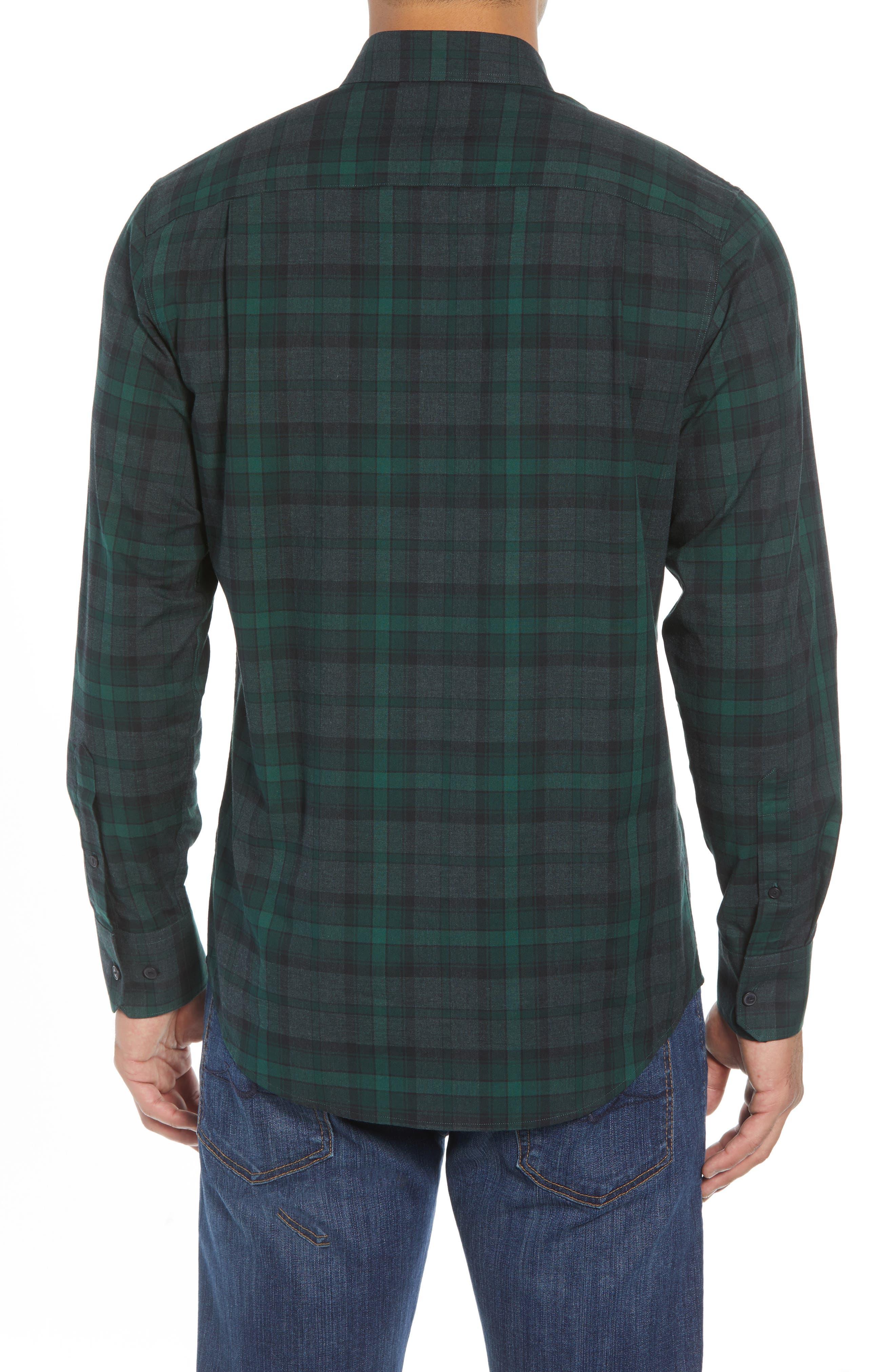 Regular Fit Plaid Flannel Sport Shirt,                             Alternate thumbnail 2, color,                             GREEN FOREST GREY PLAID
