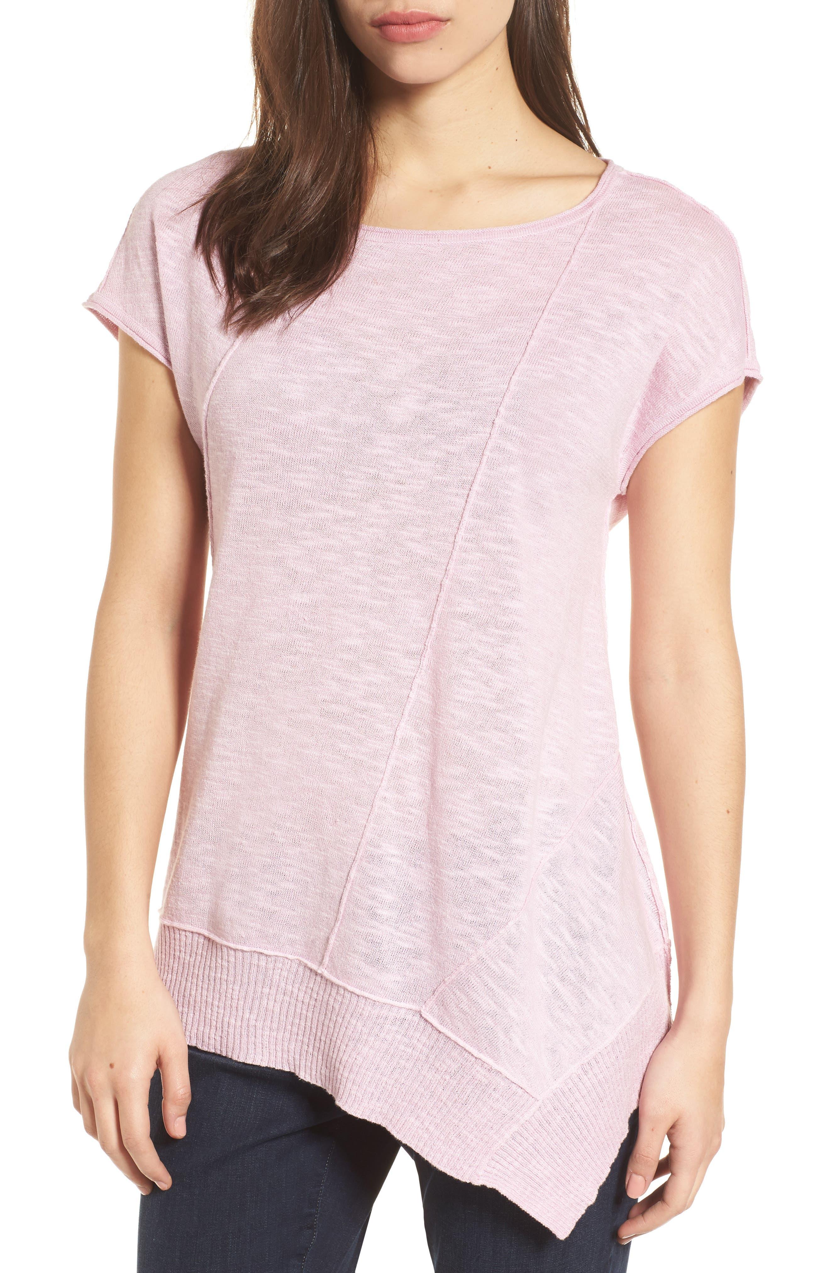 Cap Sleeve Organic Linen & Cotton Scoop Neck Top,                             Main thumbnail 7, color,