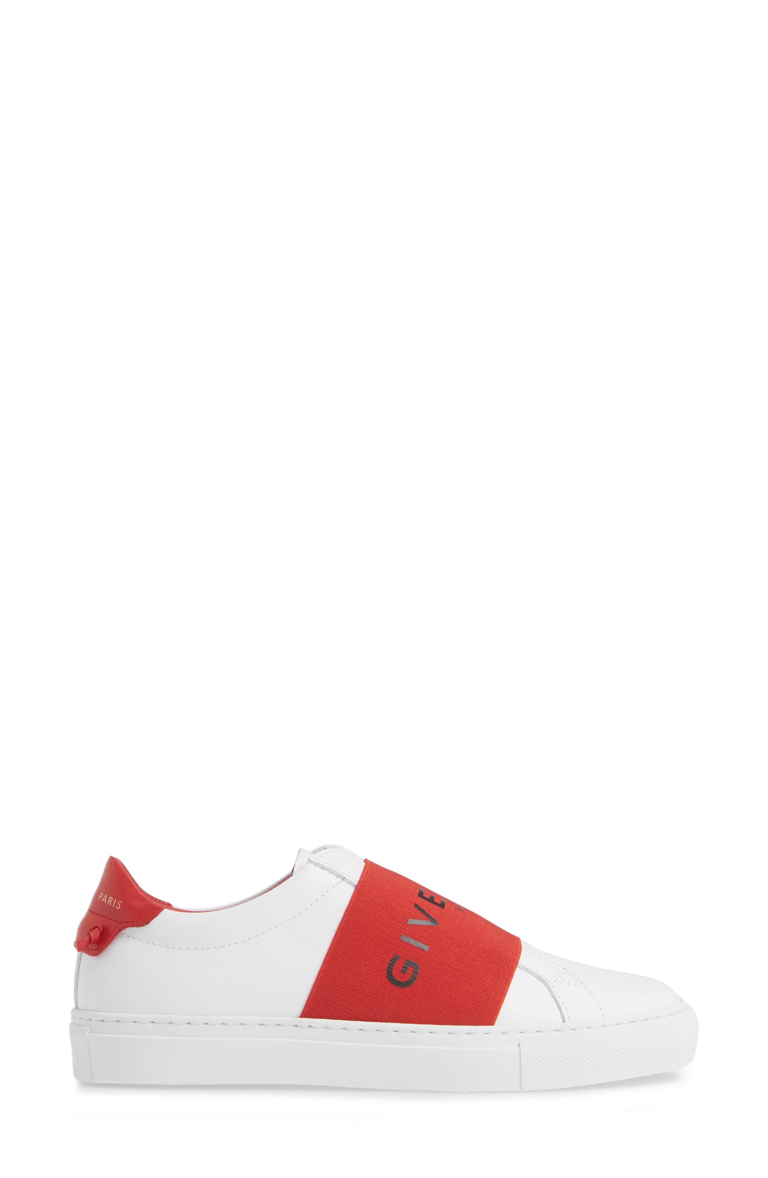 Logo Strap Slip-On Sneaker,                             Alternate thumbnail 3, color,                             WHITE/ RED