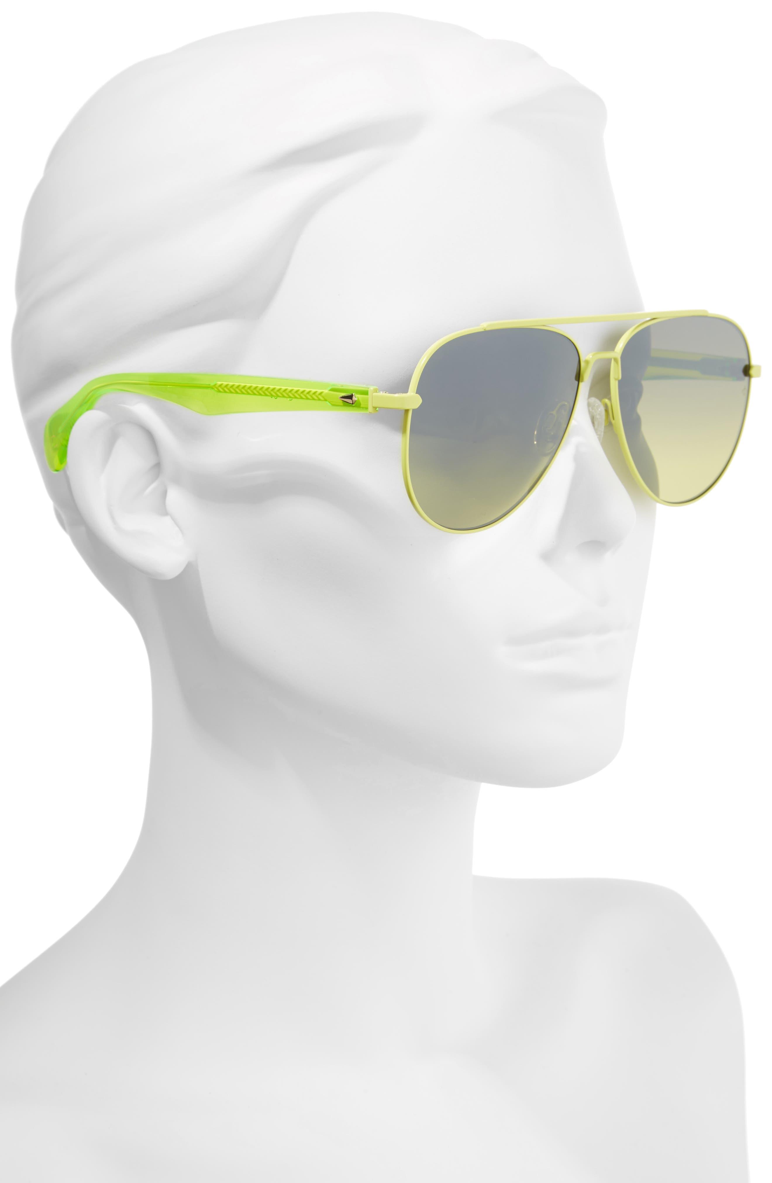 62mm Oversize Aviator Sunglasses,                             Alternate thumbnail 2, color,                             MATTE GREEN