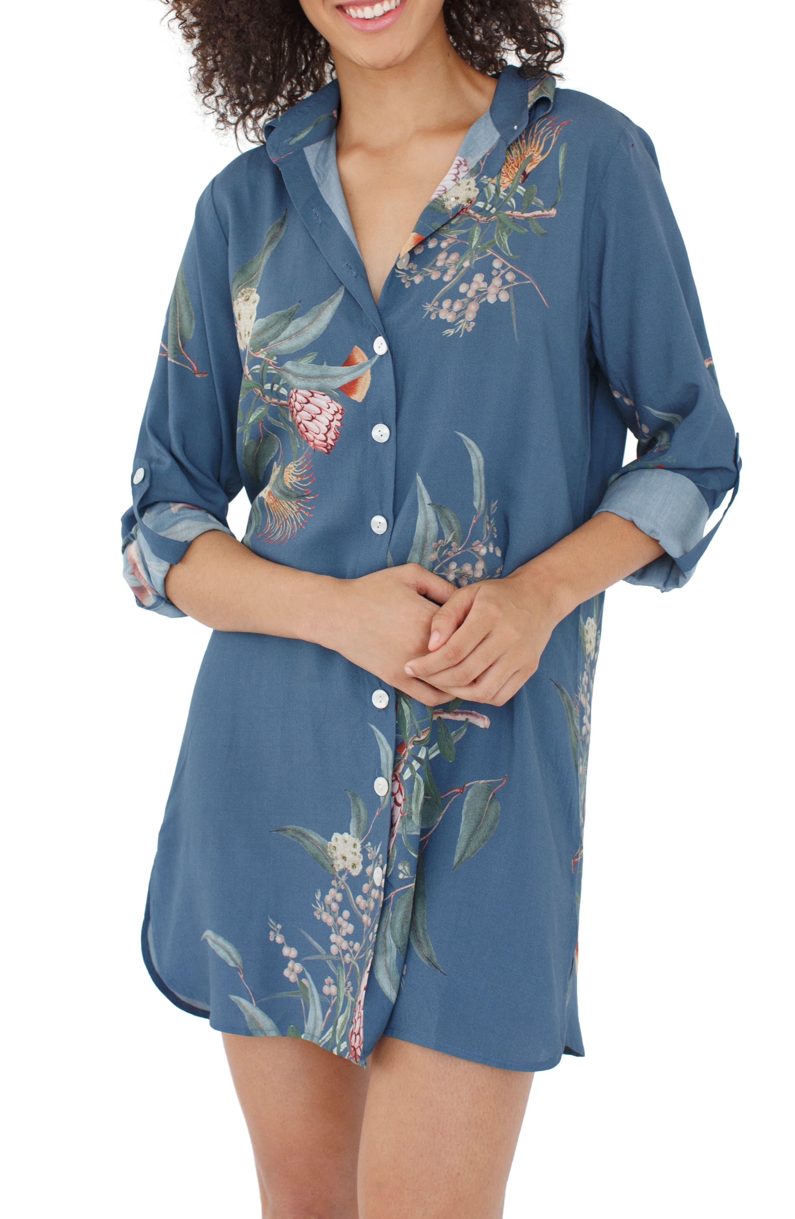 Floral Nightshirt,                         Main,                         color, 440