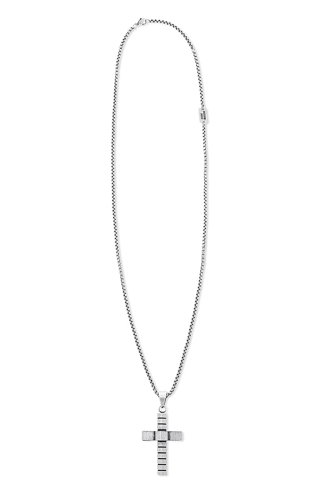 STEVE MADDEN,                             Cross Pendant Necklace,                             Main thumbnail 1, color,                             040