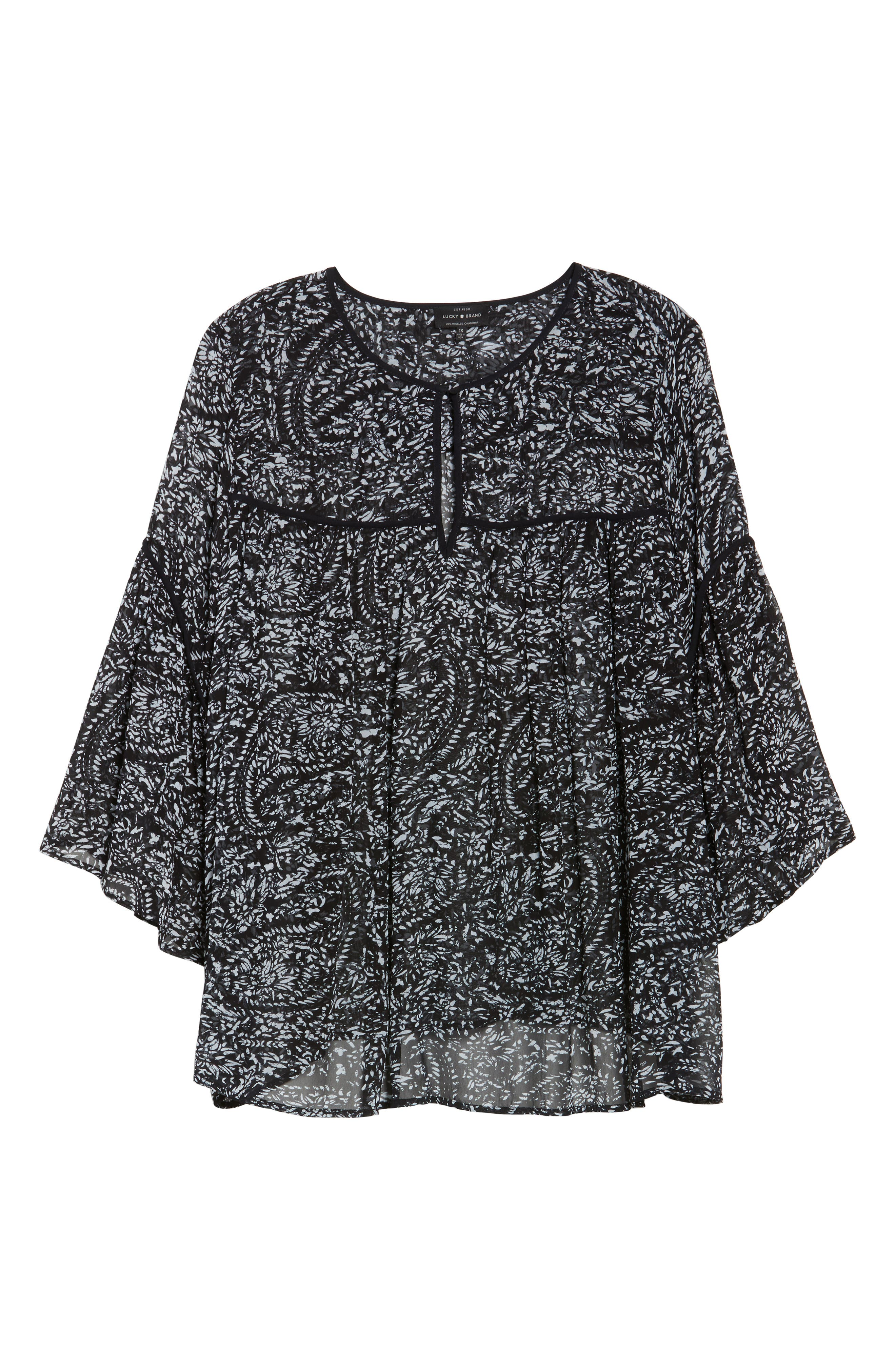 Paisley Print Bell Sleeve Top,                             Alternate thumbnail 6, color,