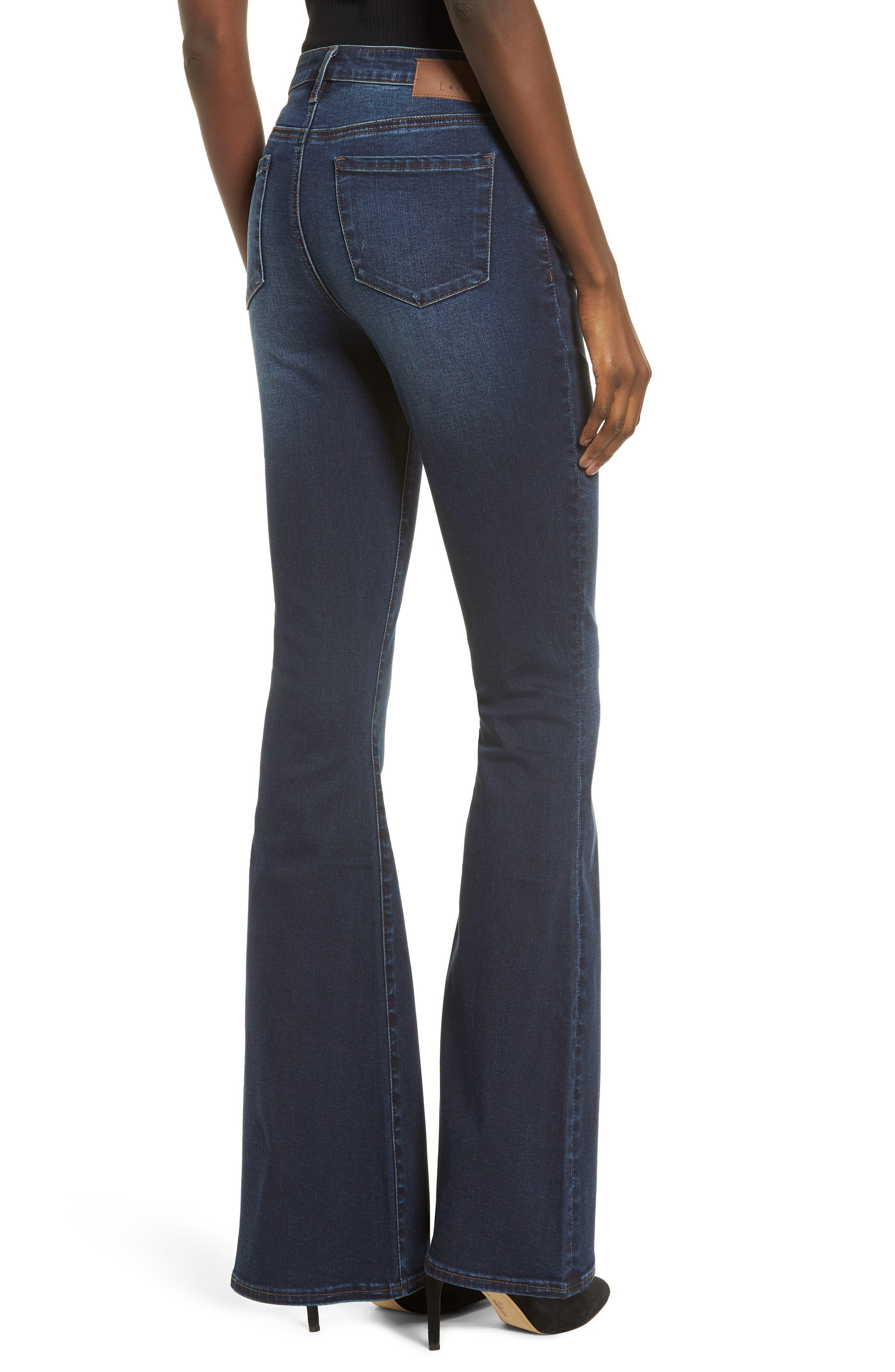 High Waist Flare Jeans,                             Alternate thumbnail 2, color,                             MEDIUM WASH