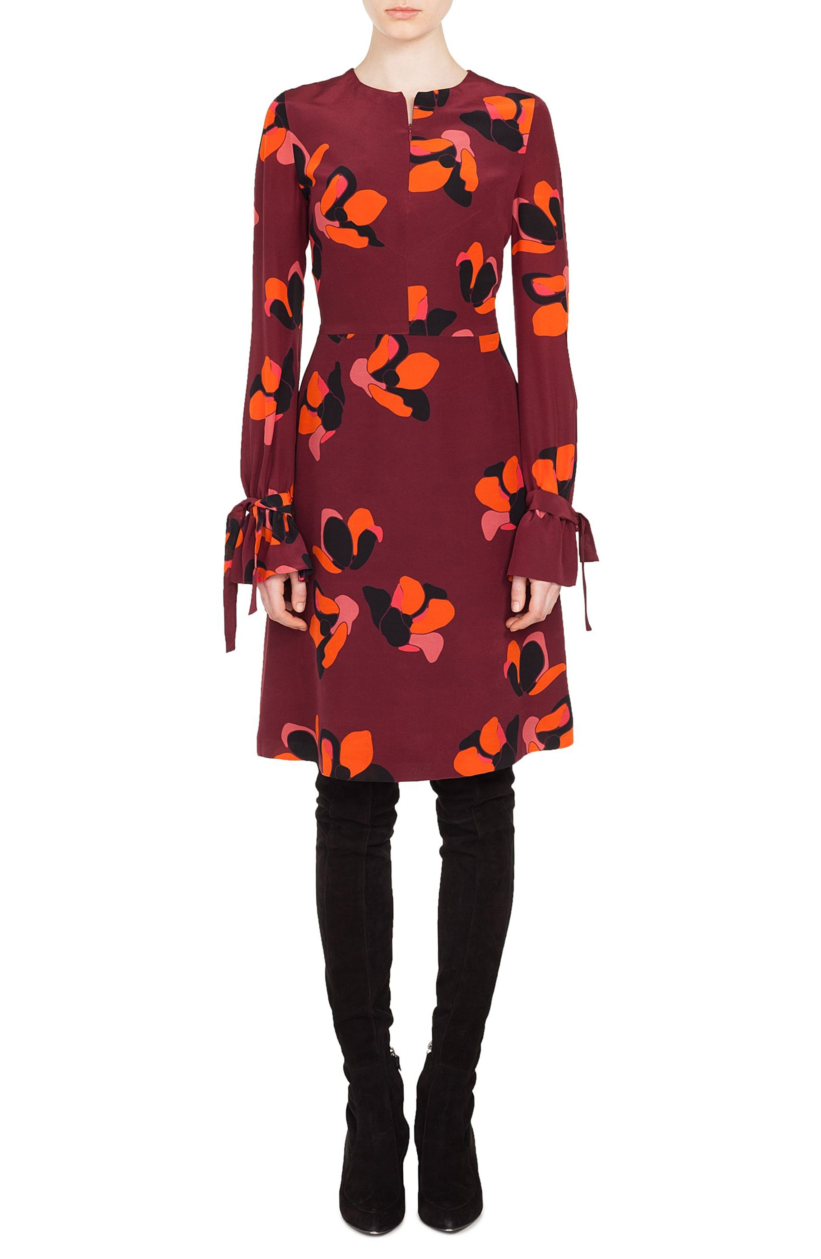 AKRIS PUNTO Round-Neck Long-Sleeve A-Line Ruched-Cuff Anemone-Print Silk Dress in Multicolor
