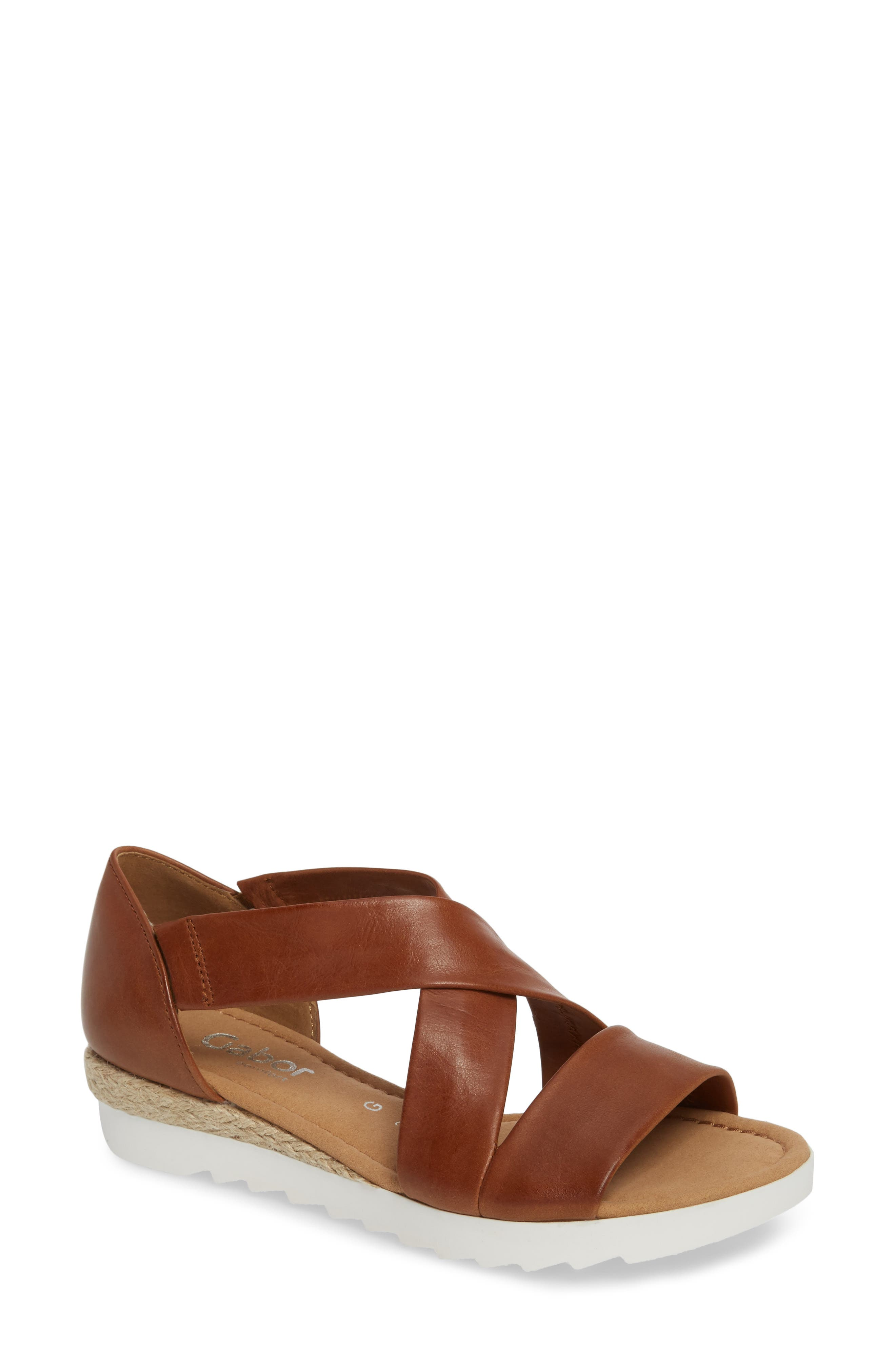 Cross Strap Sandal,                             Main thumbnail 1, color,                             BROWN LEATHER