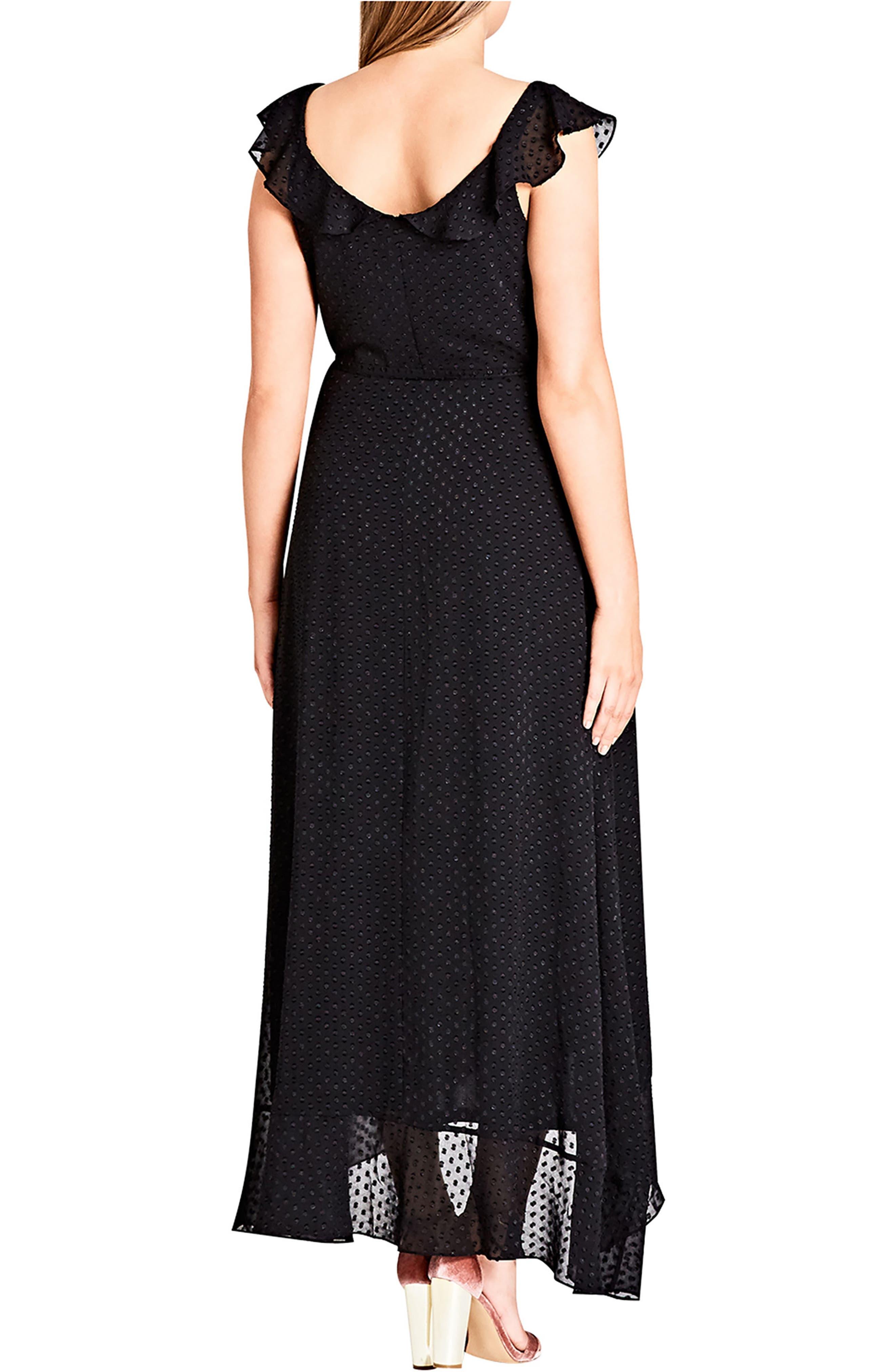 Dot Fil Coupé Ruffle Maxi Dress,                             Alternate thumbnail 2, color,                             BLACK
