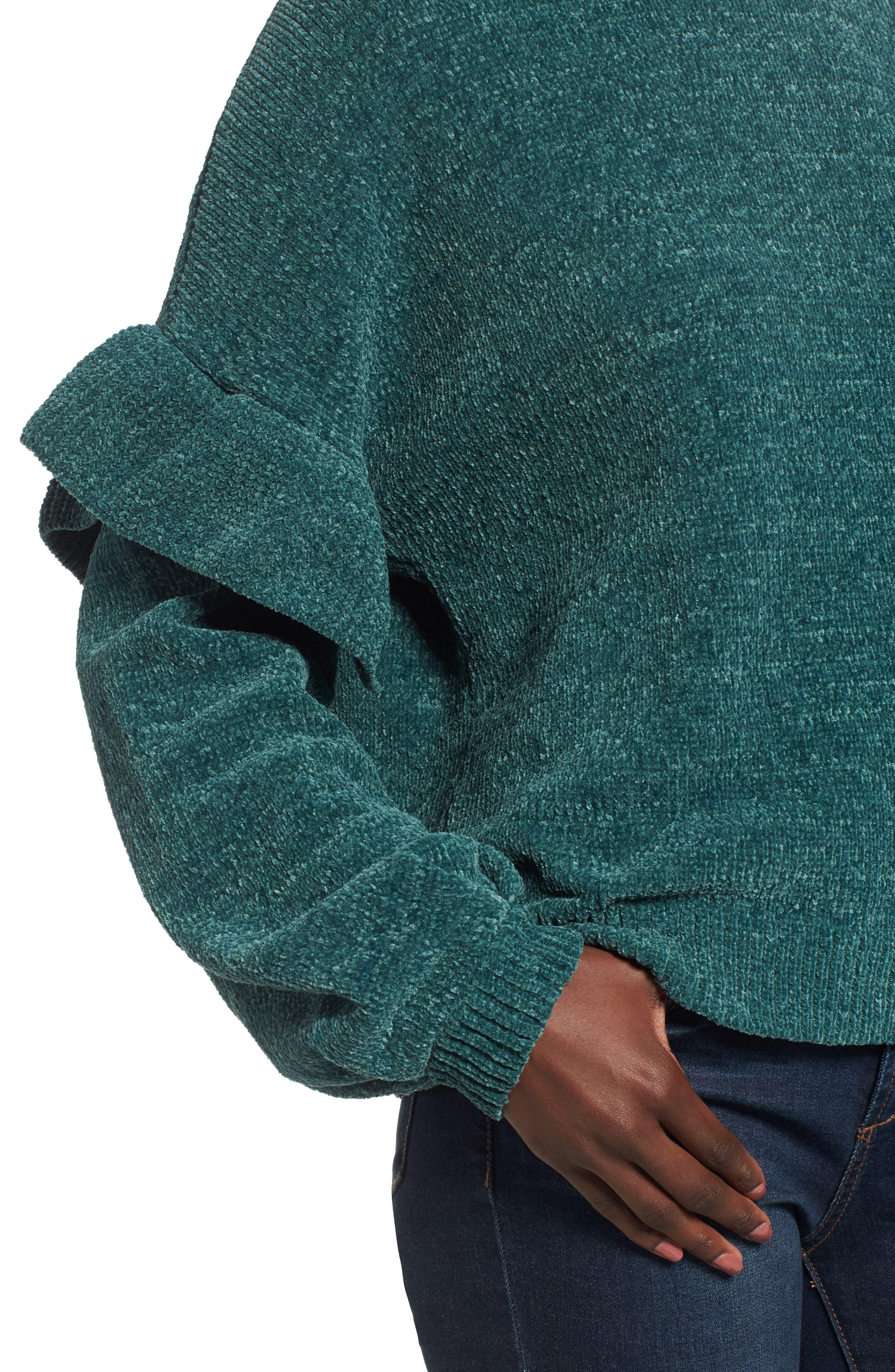 Ruffle Chenille Sweater,                             Alternate thumbnail 7, color,