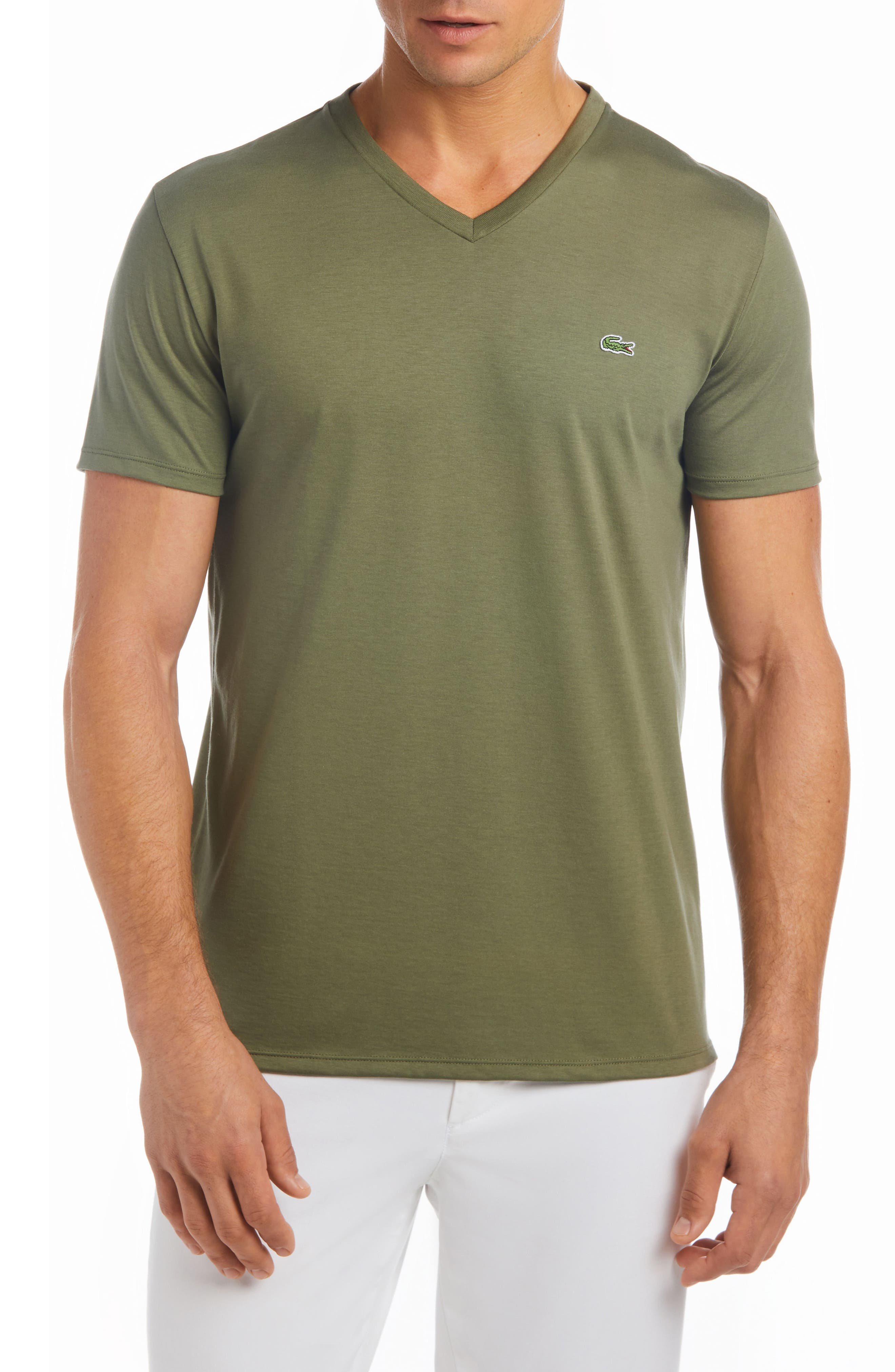 V-Neck Cotton T-Shirt,                         Main,                         color, ARMY