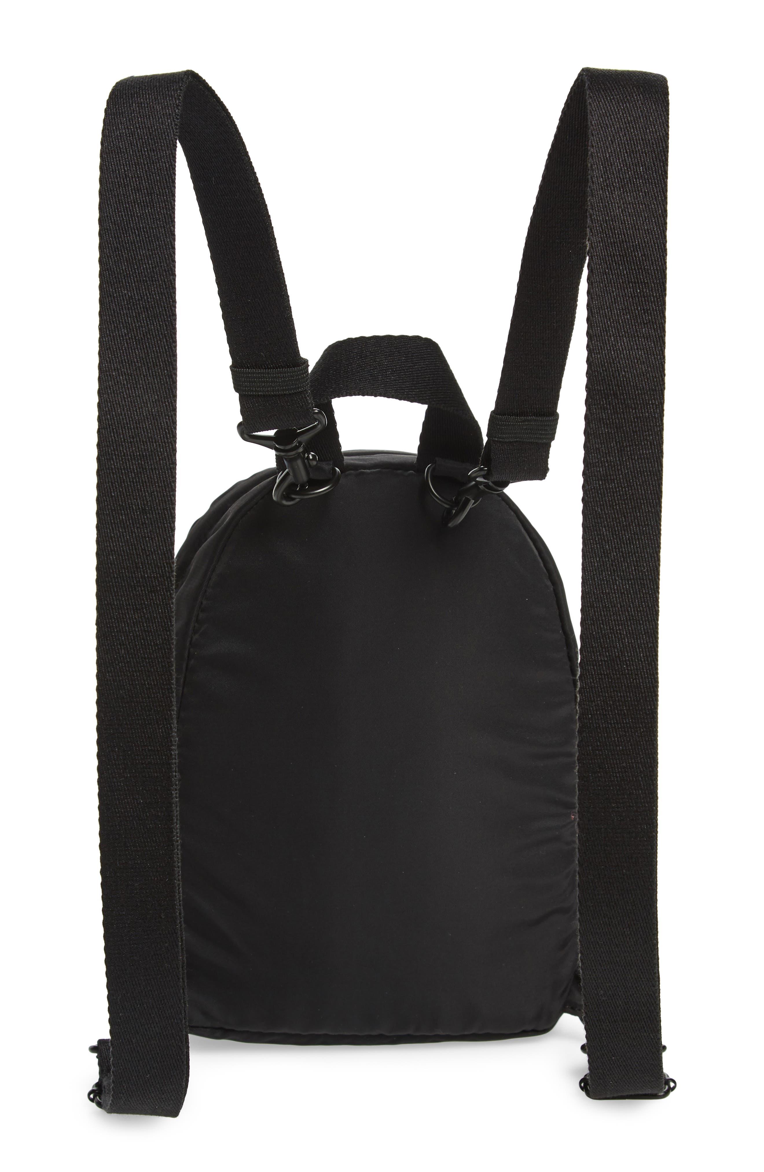 Mini Hart Convertible Nylon Backpack,                             Alternate thumbnail 4, color,                             BLACK