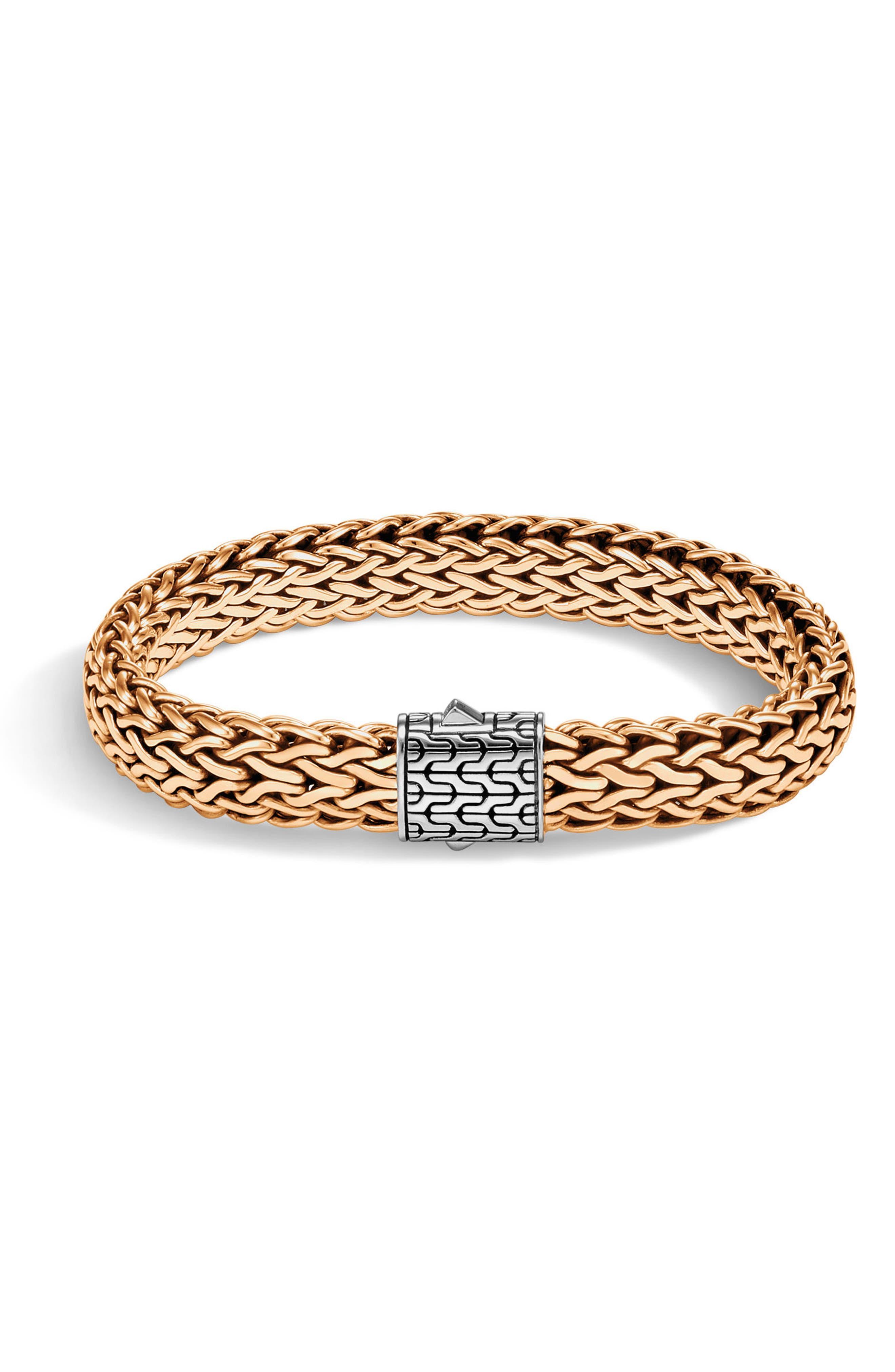 Men's Large Flat Chain Bracelet,                         Main,                         color, SILVER/ BRONZE