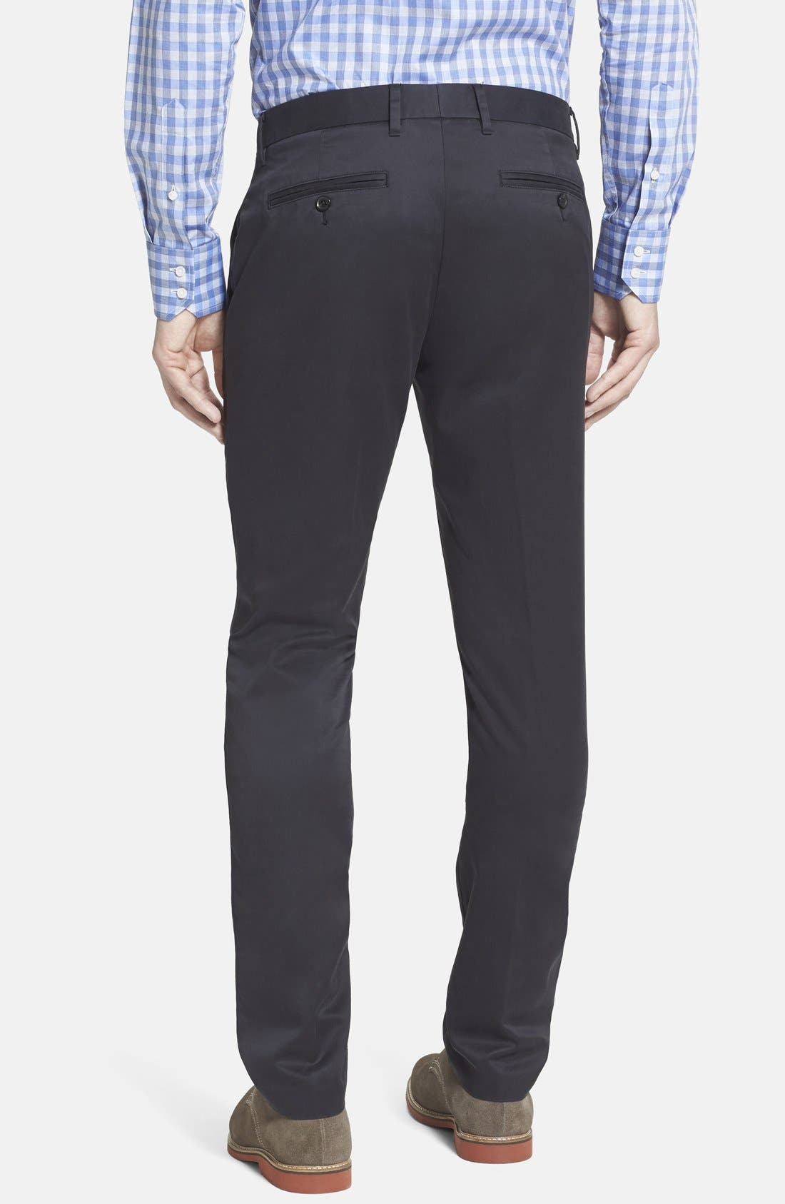 'Weekday Warriors' Non-Iron Tailored Cotton Chinos,                             Alternate thumbnail 8, color,                             TUESDAY BLACKS