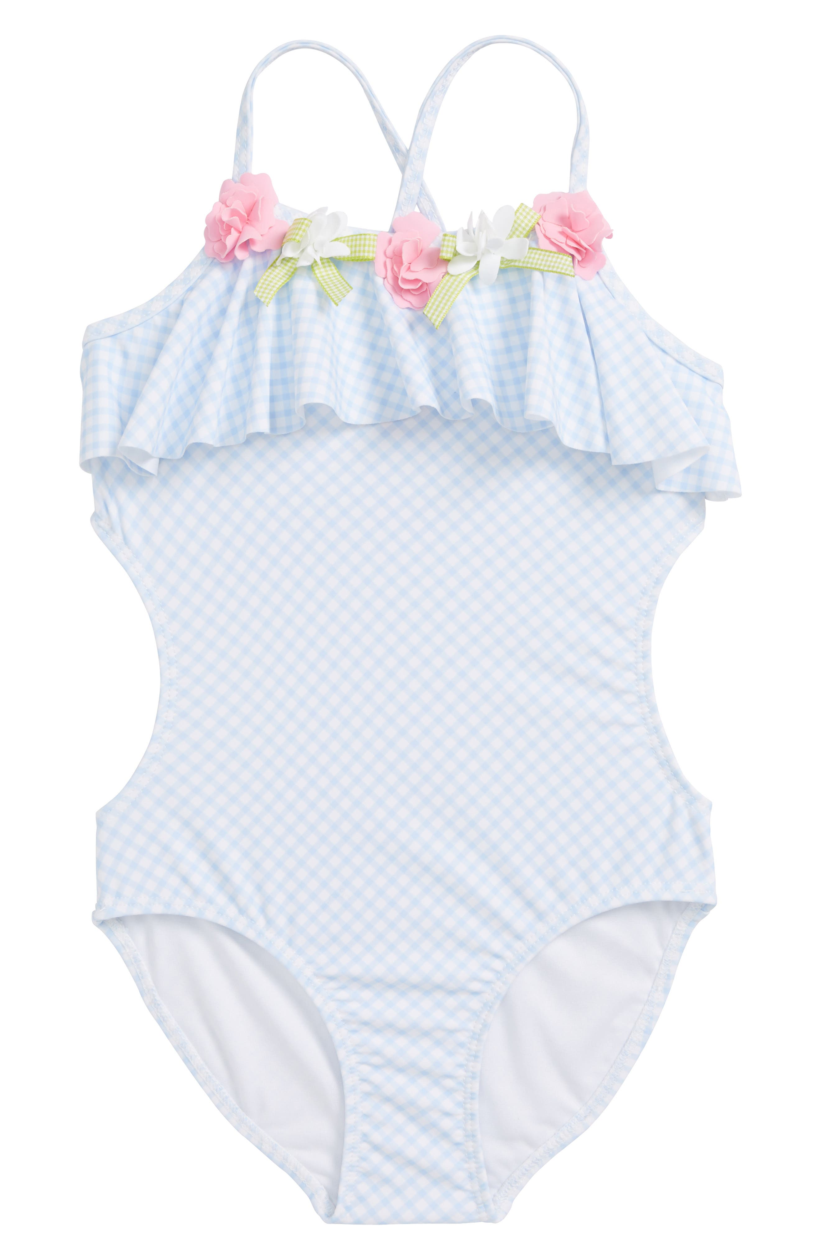 Gingham One-Piece Swimsuit,                             Main thumbnail 1, color,                             400