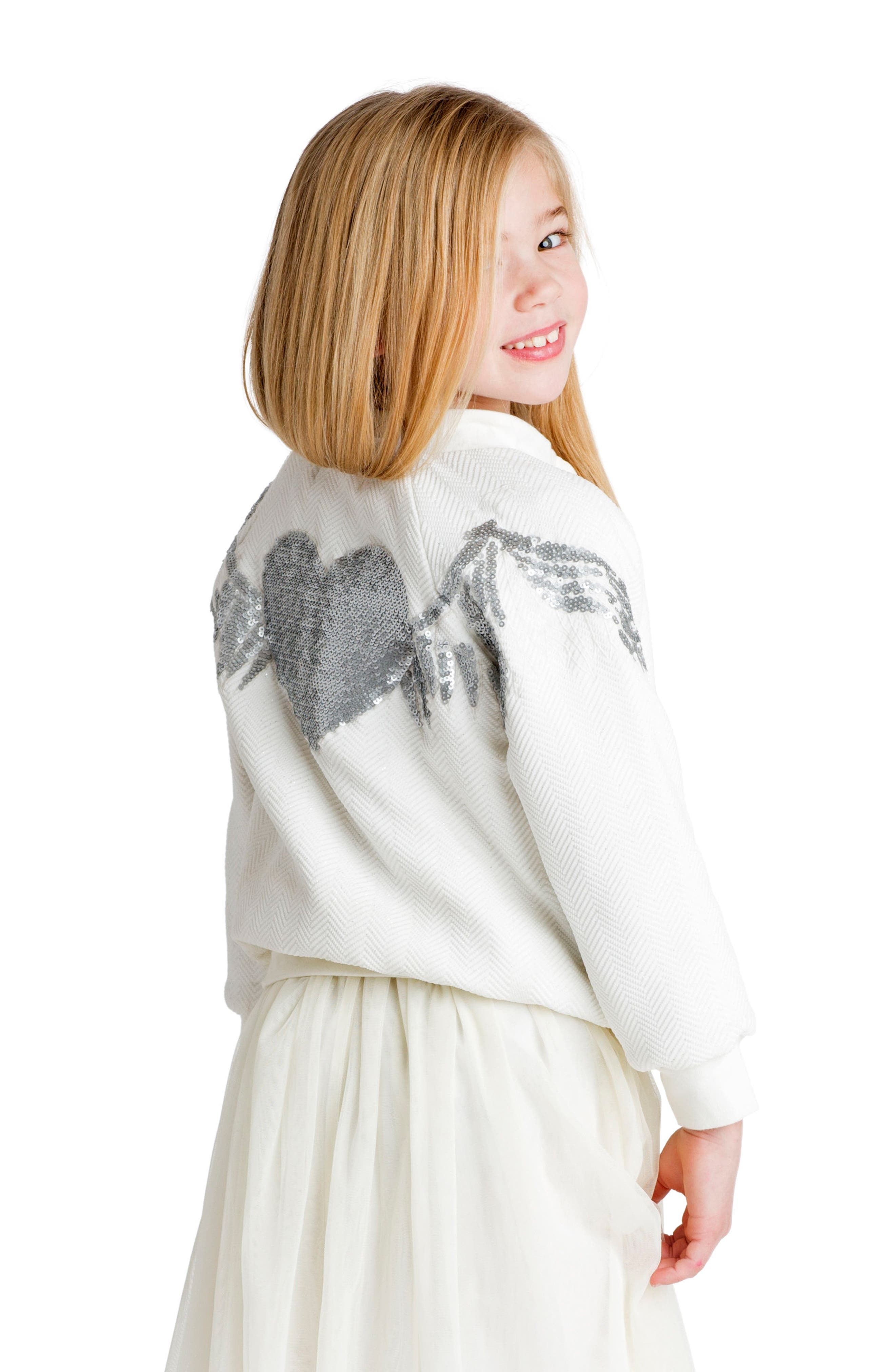Wings Sequin Bomber Jacket,                             Alternate thumbnail 3, color,                             901
