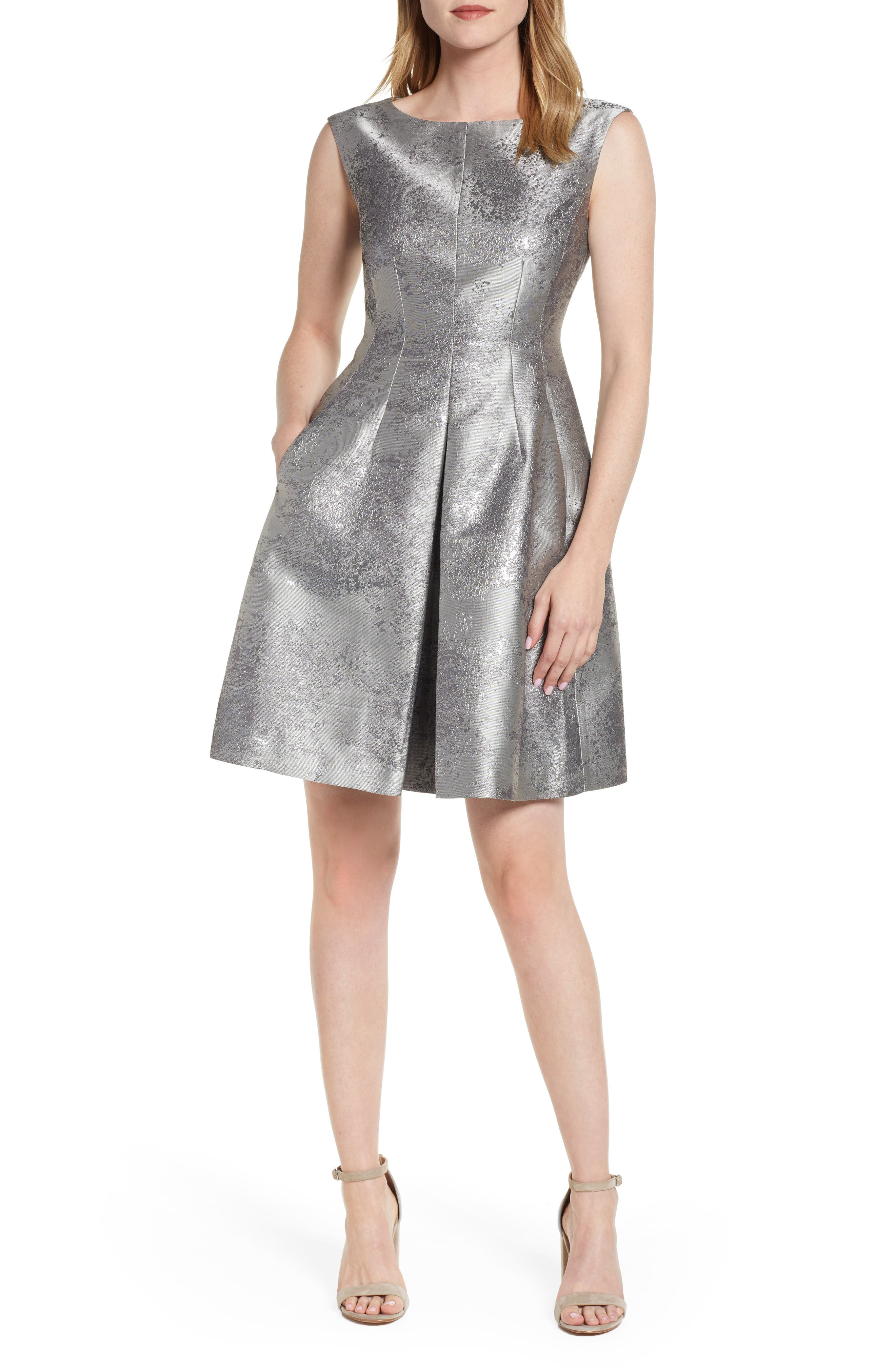 ANNE KLEIN,                             Satin Jacquard Fit & Flare Dress,                             Main thumbnail 1, color,                             SILVER COMBO